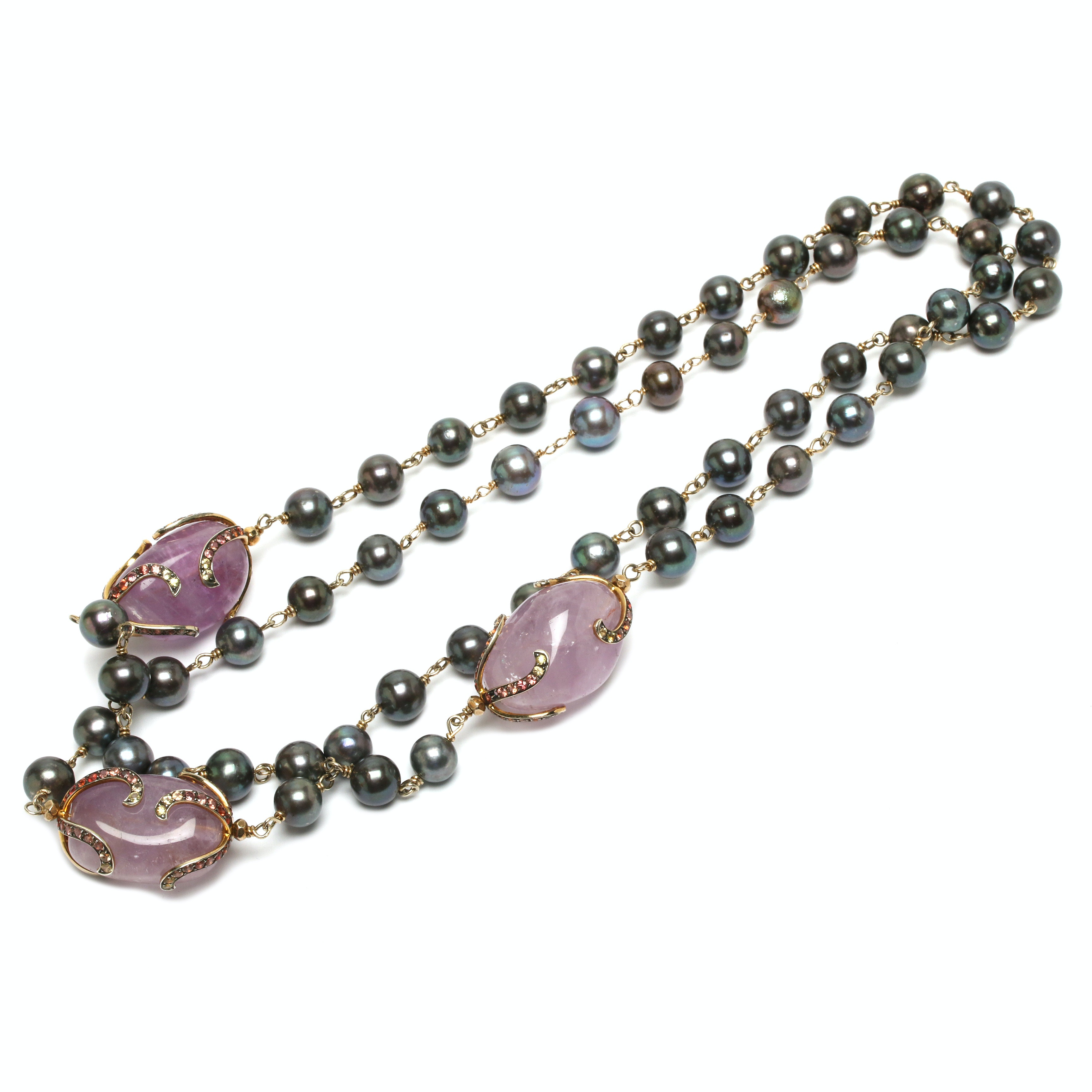 Sterling Silver Cultured Pearl, Amethyst and Sapphire Station Necklace
