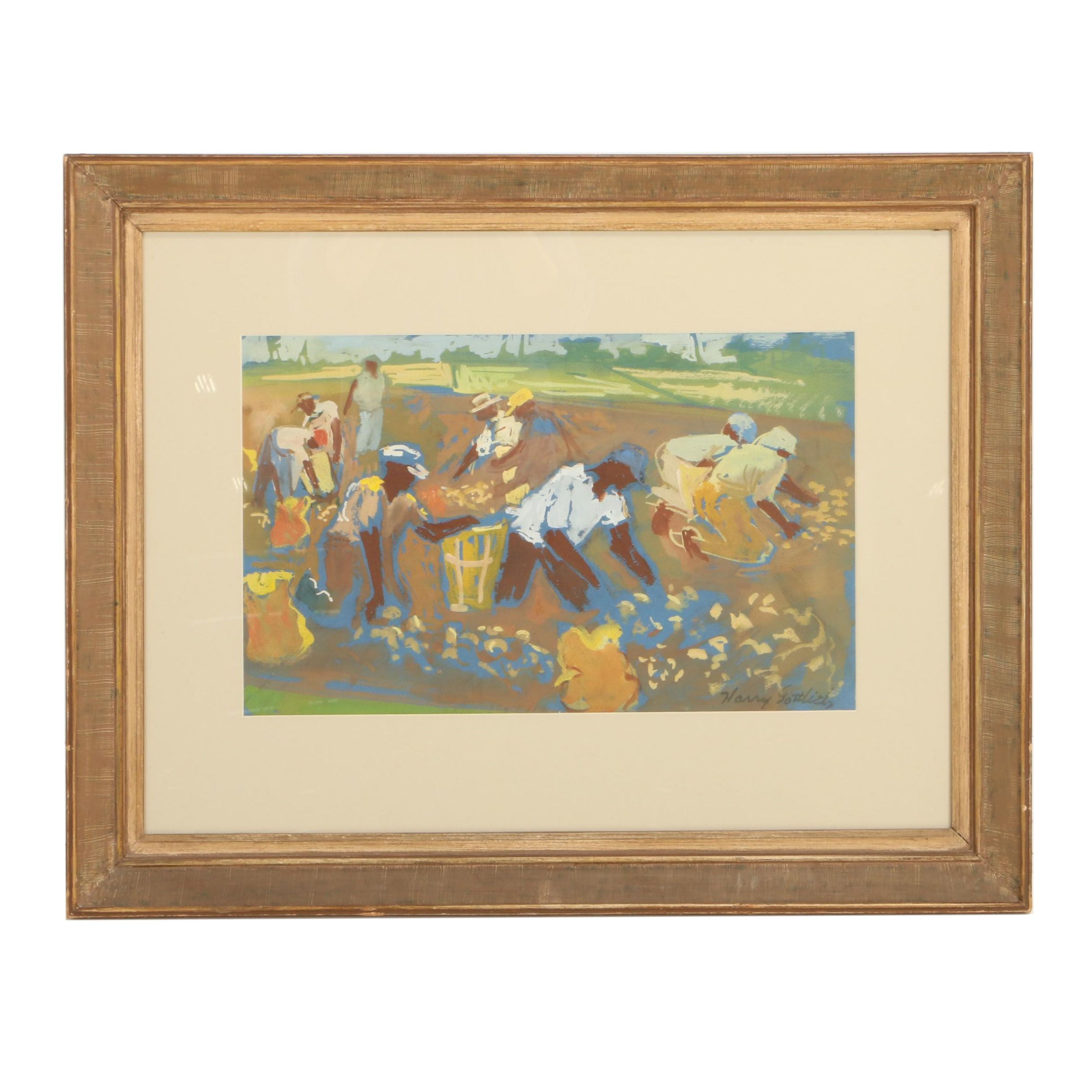 Harry Gottlieb Gouache and Watercolor Painting of Harvesters