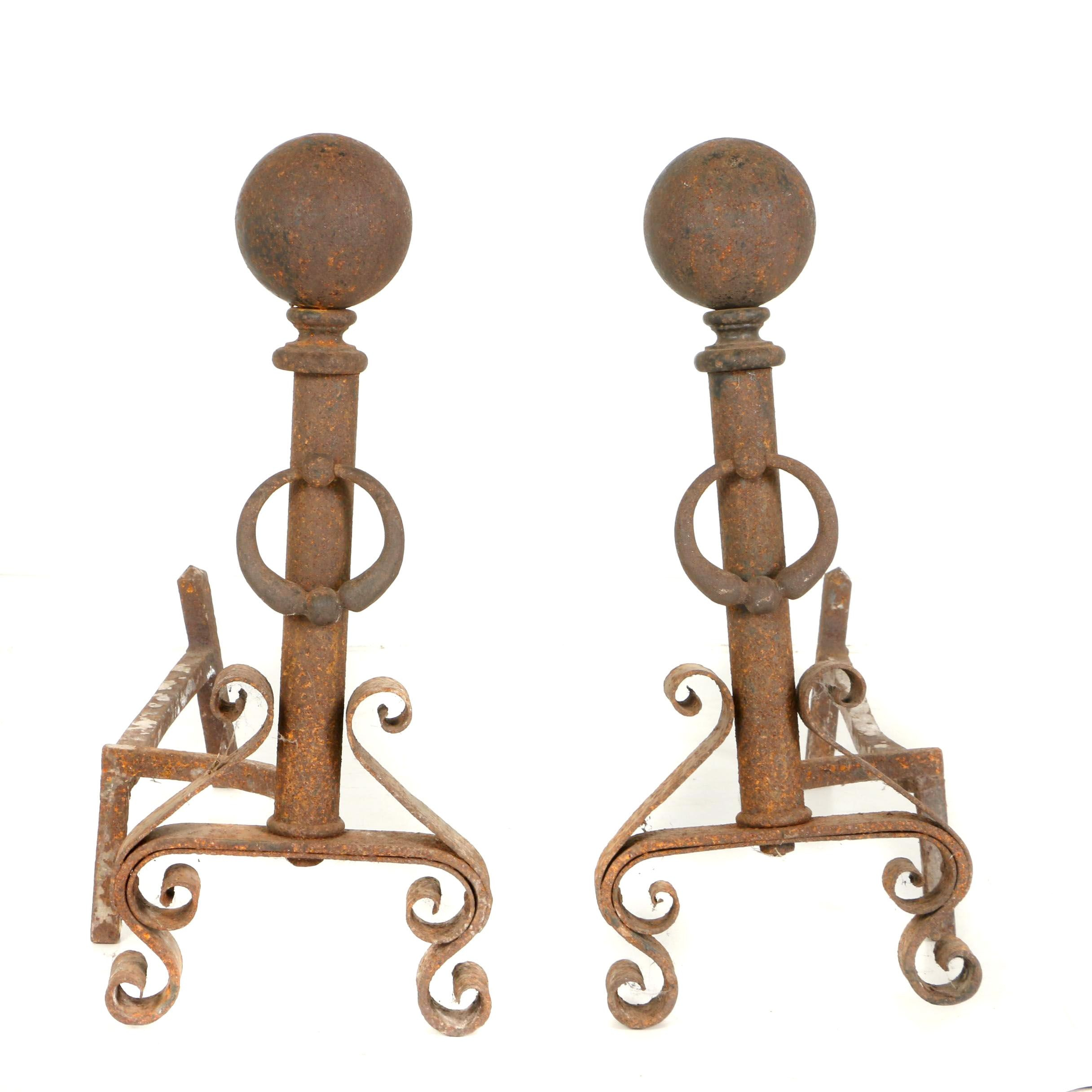 Early Pair of Hand Wrought Andirons, Circa 1860 - 1880