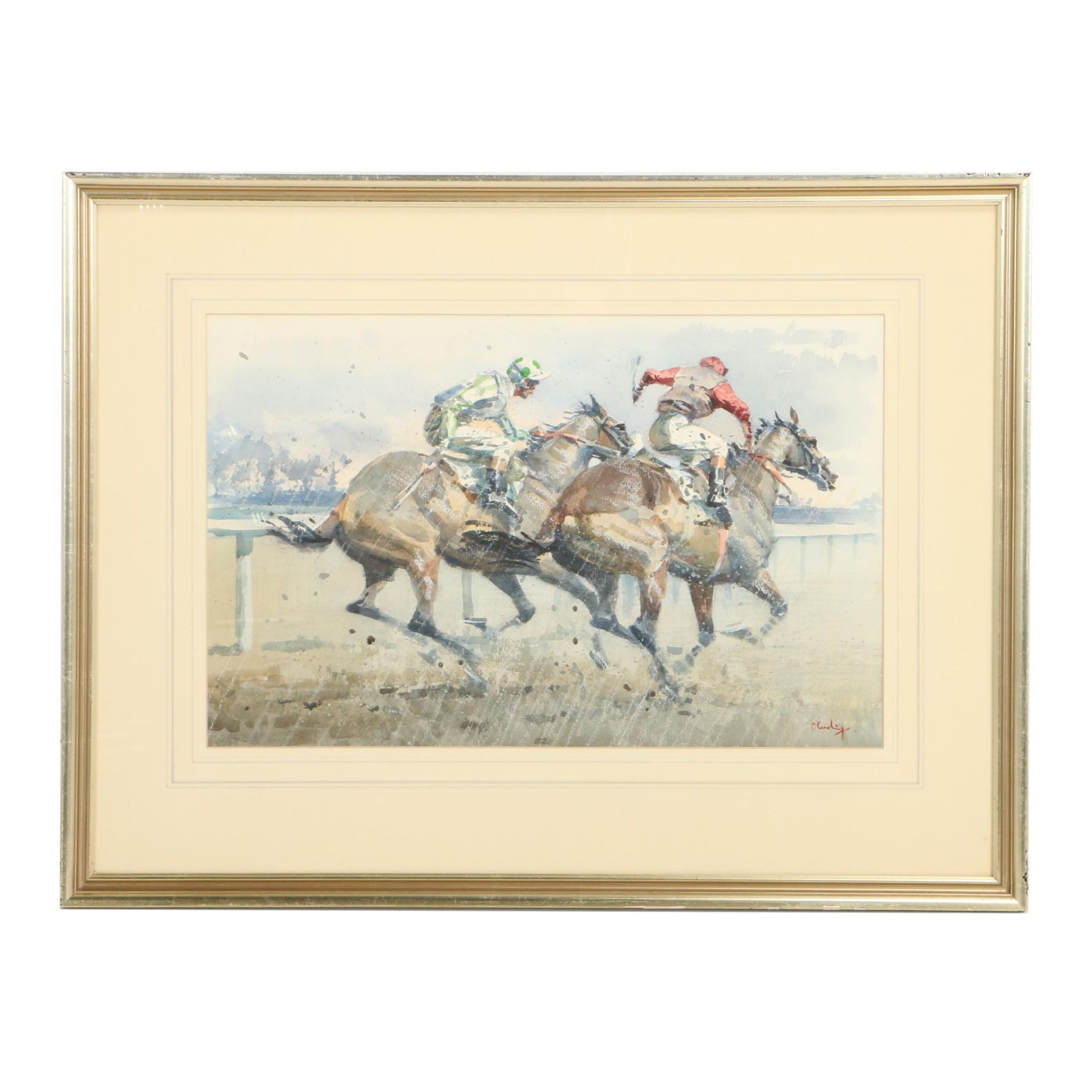 Peter Curling Watercolor Painting of a Horse Race