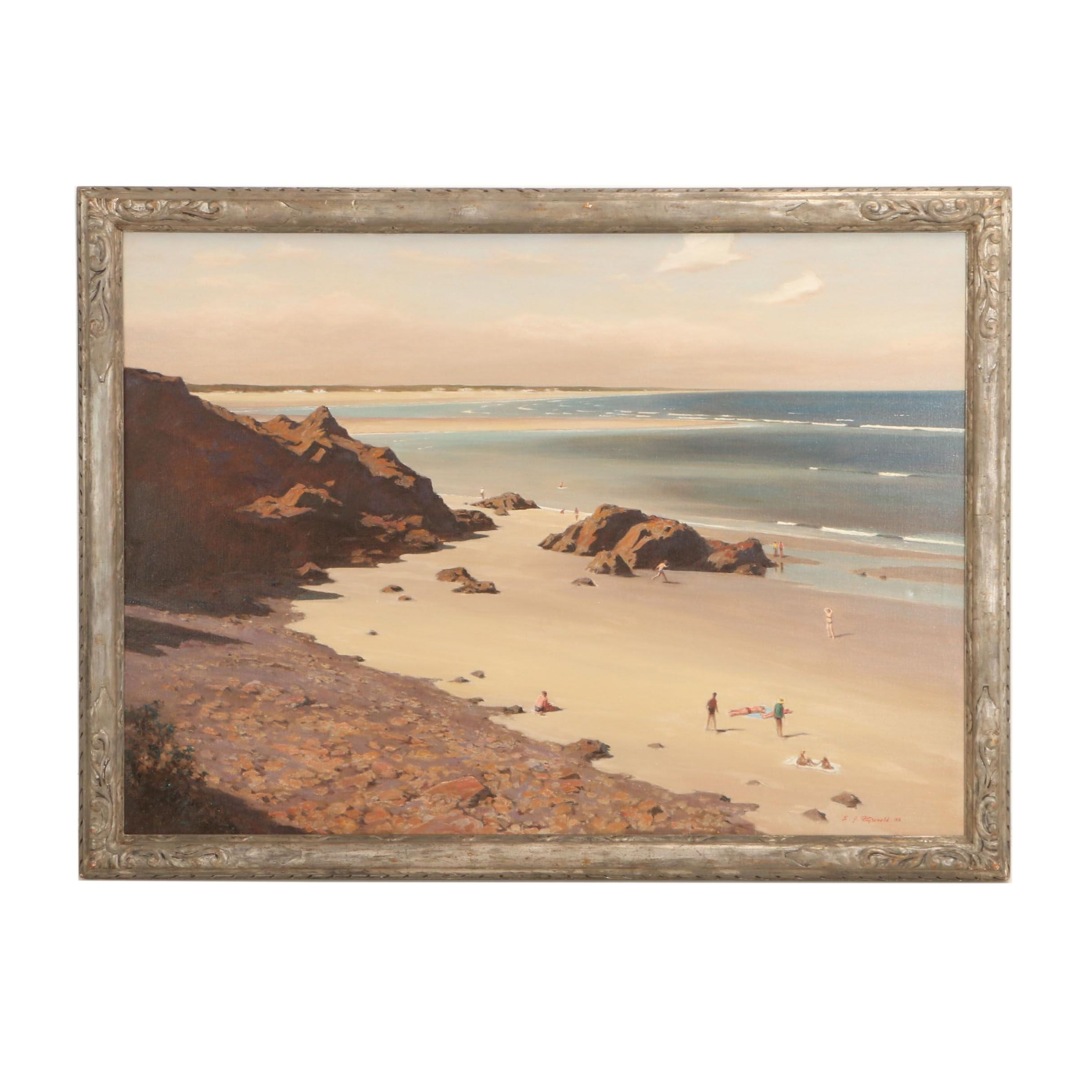 "Edmond J. Fitzgerald Monumental Oil Painting on Canvas ""Ogunquit Beaches"""
