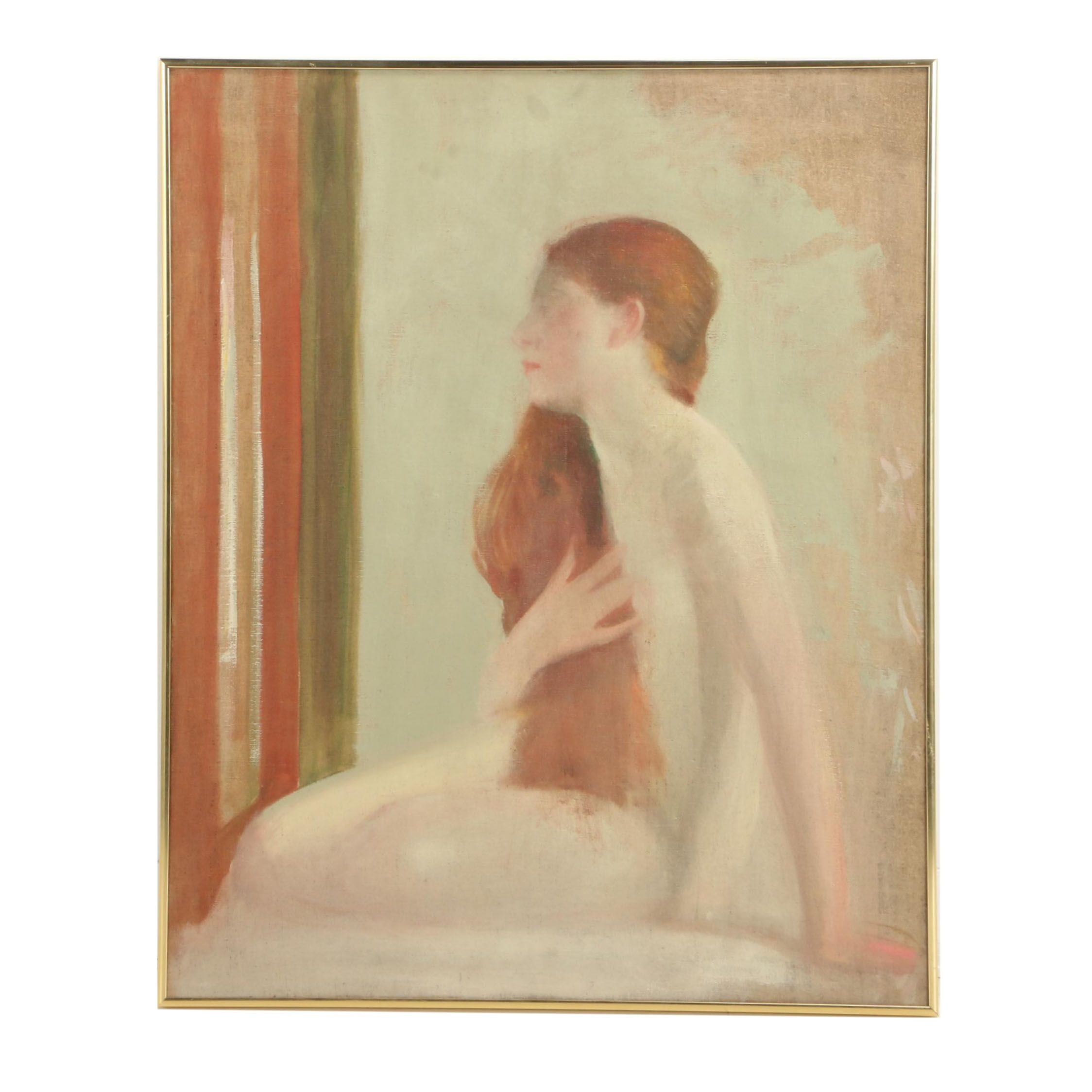 James Roy Hopkins Oil on Canvas of Female Nude