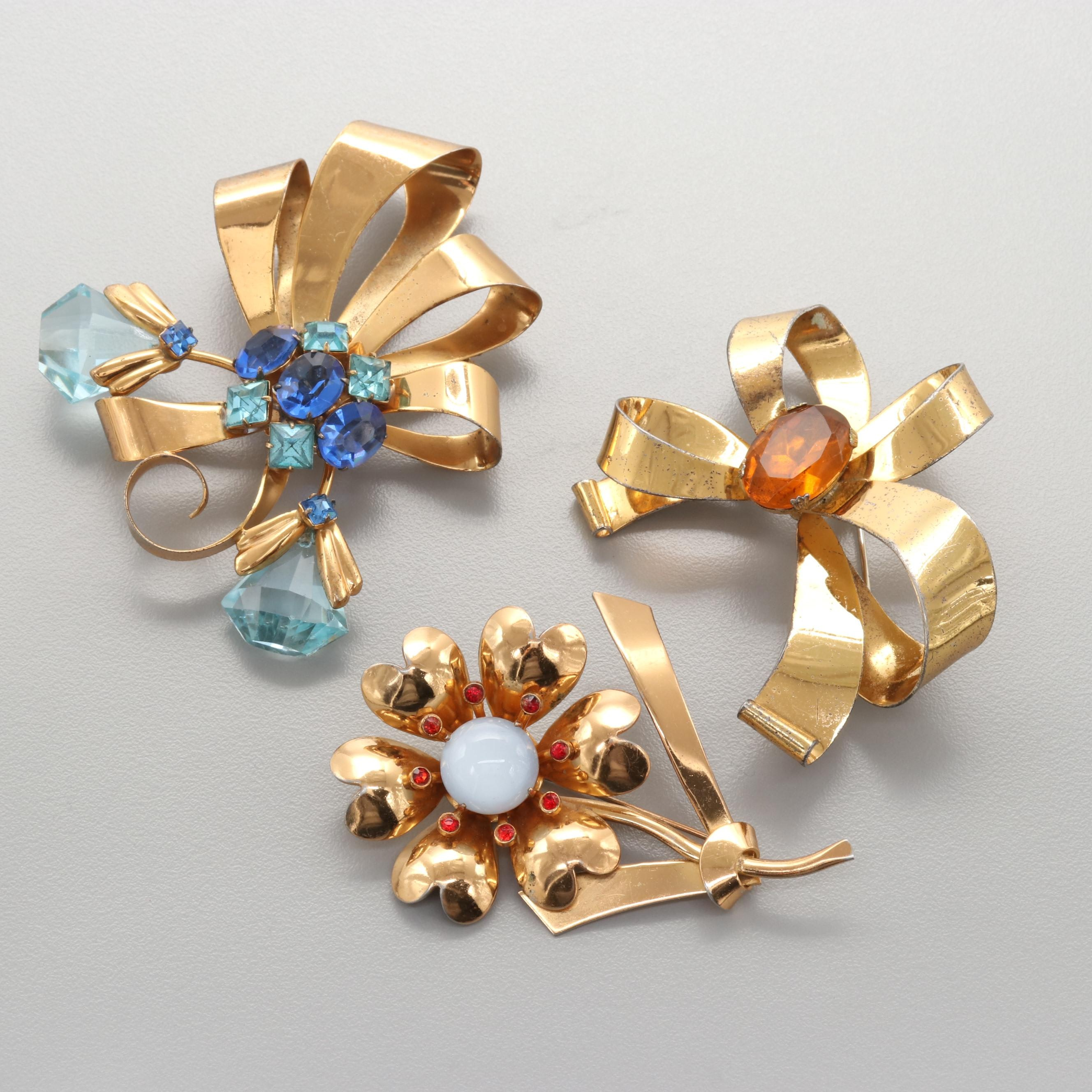 1950s Sterling Silver and Vermeil Rhinestone Floral Brooches Including Coro