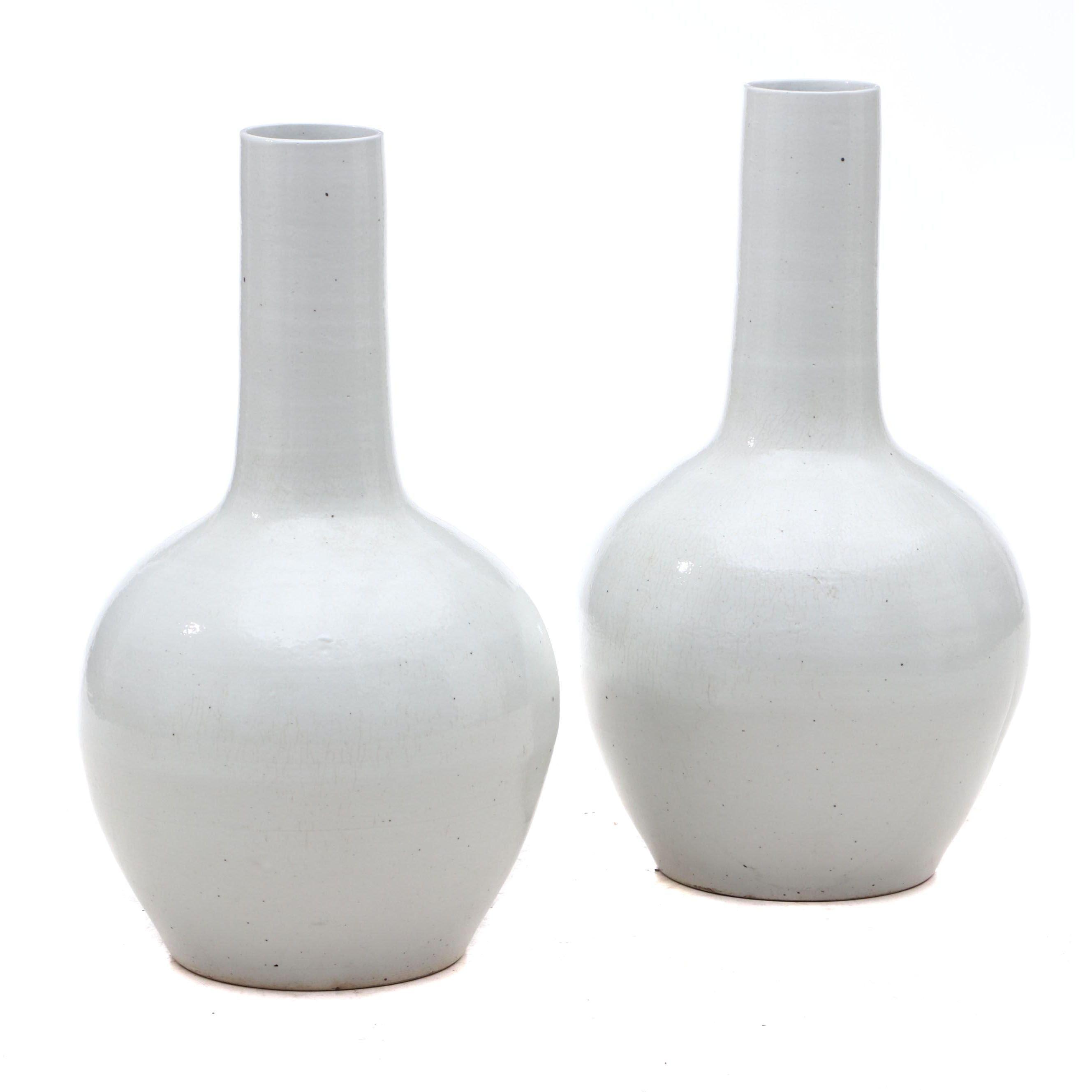 Chinese Monochrome Tianqiuping Globular Vases
