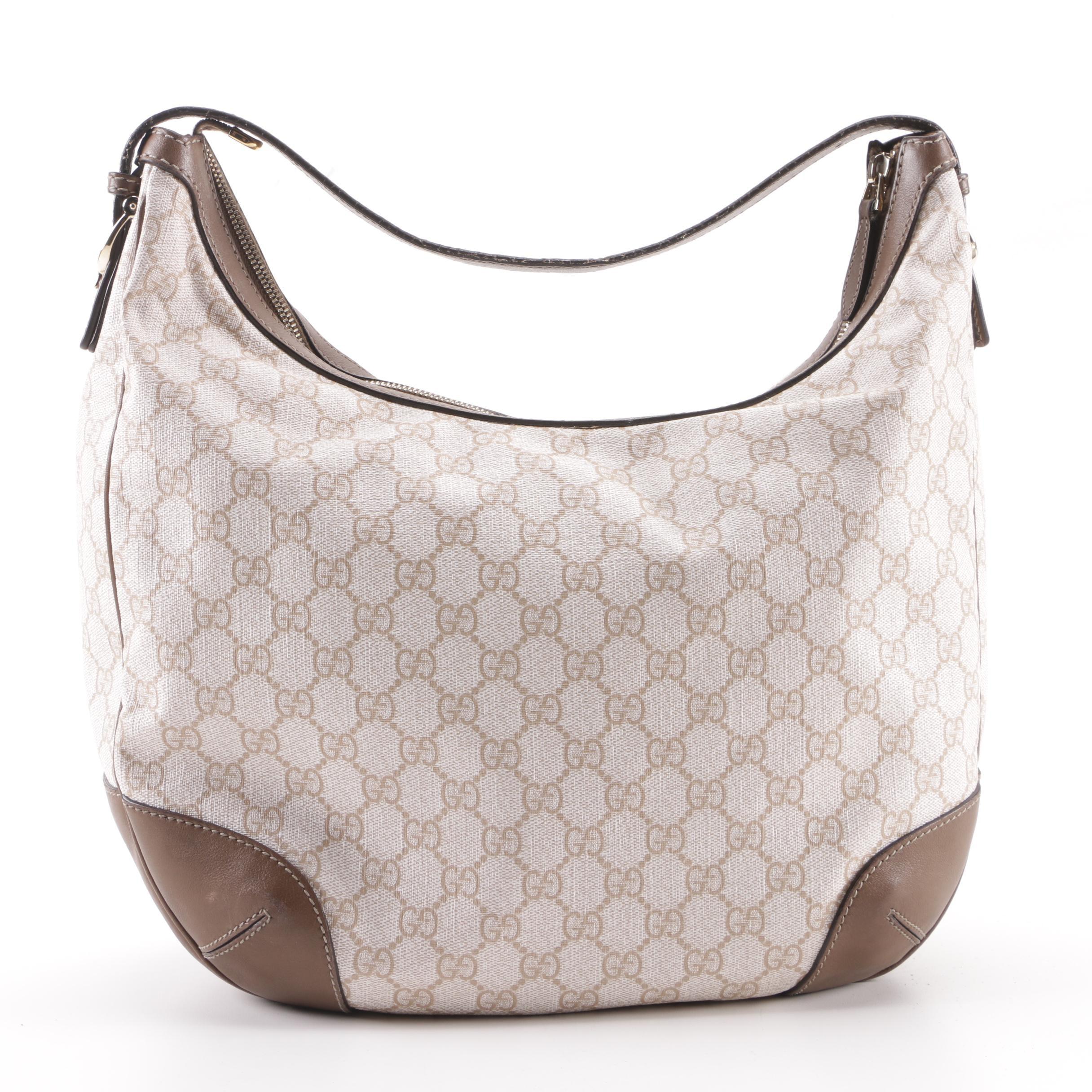 Gucci GG Supreme Canvas and Leather Hobo Bag