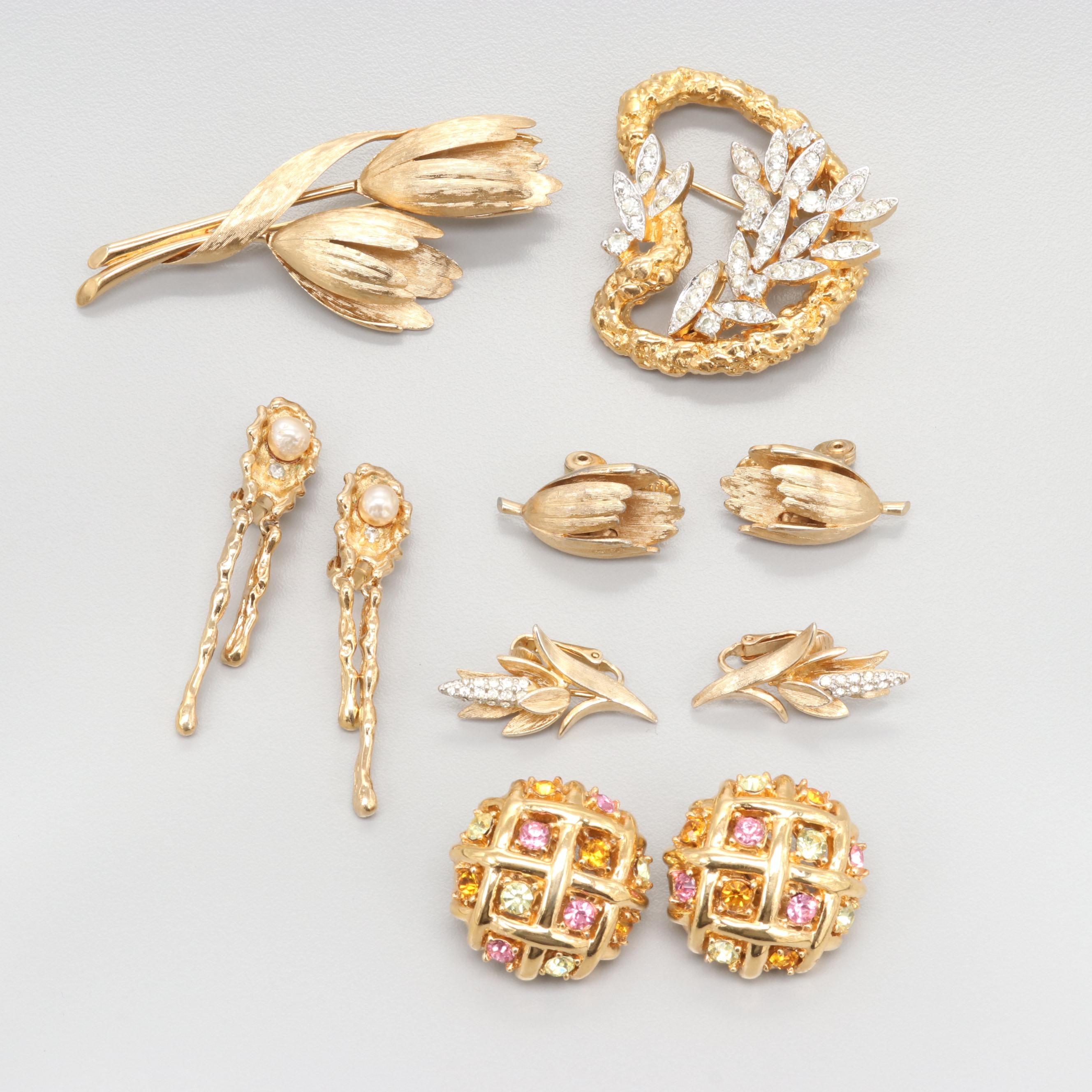 1980s Gold Tone Rhinestone Jewelry Including Ciner, Jomaz, Boucher, Panetta