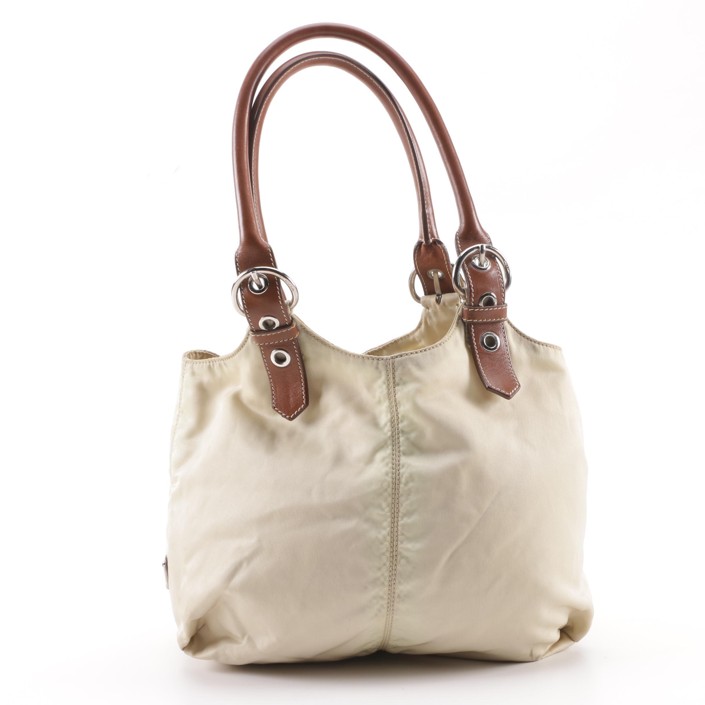 Prada Beige Nylon and Brown Leather Tote