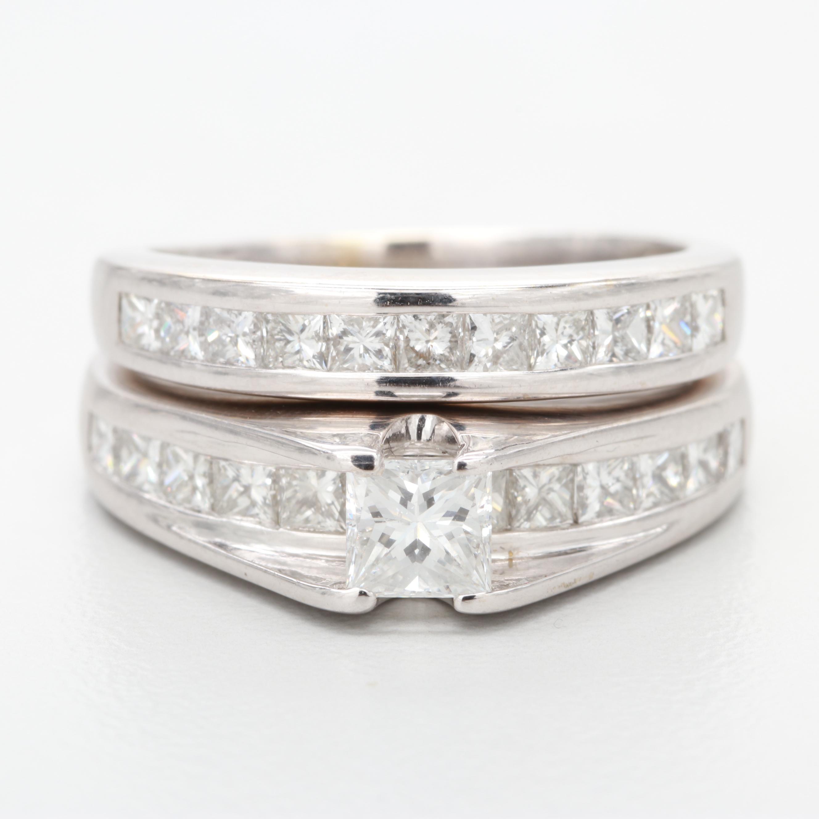 14K and 18K White Gold 1.57 CTW Diamond Ring Set