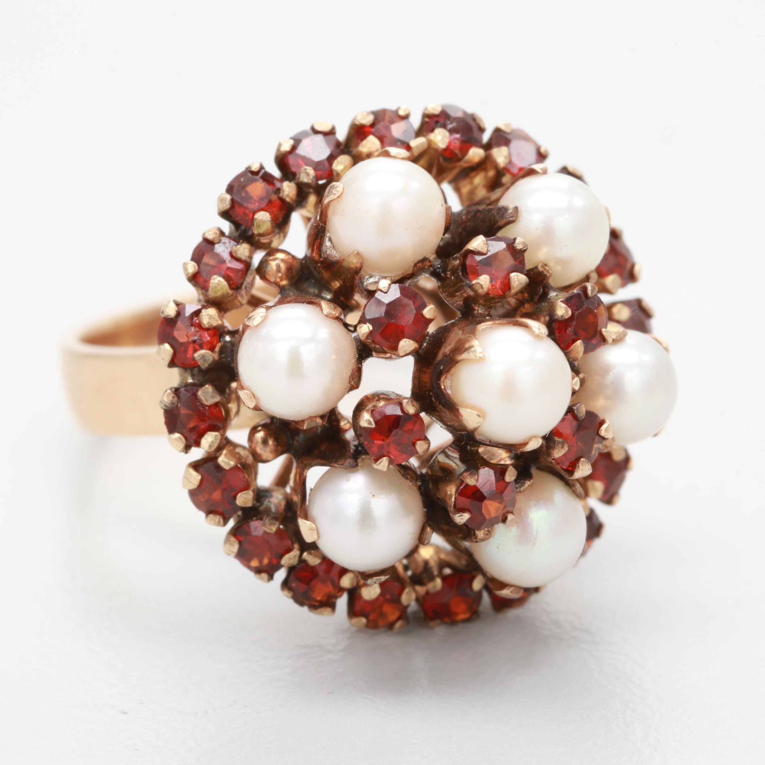 Vintage 10K Yellow Gold Cultured Pearl and Garnet Ring