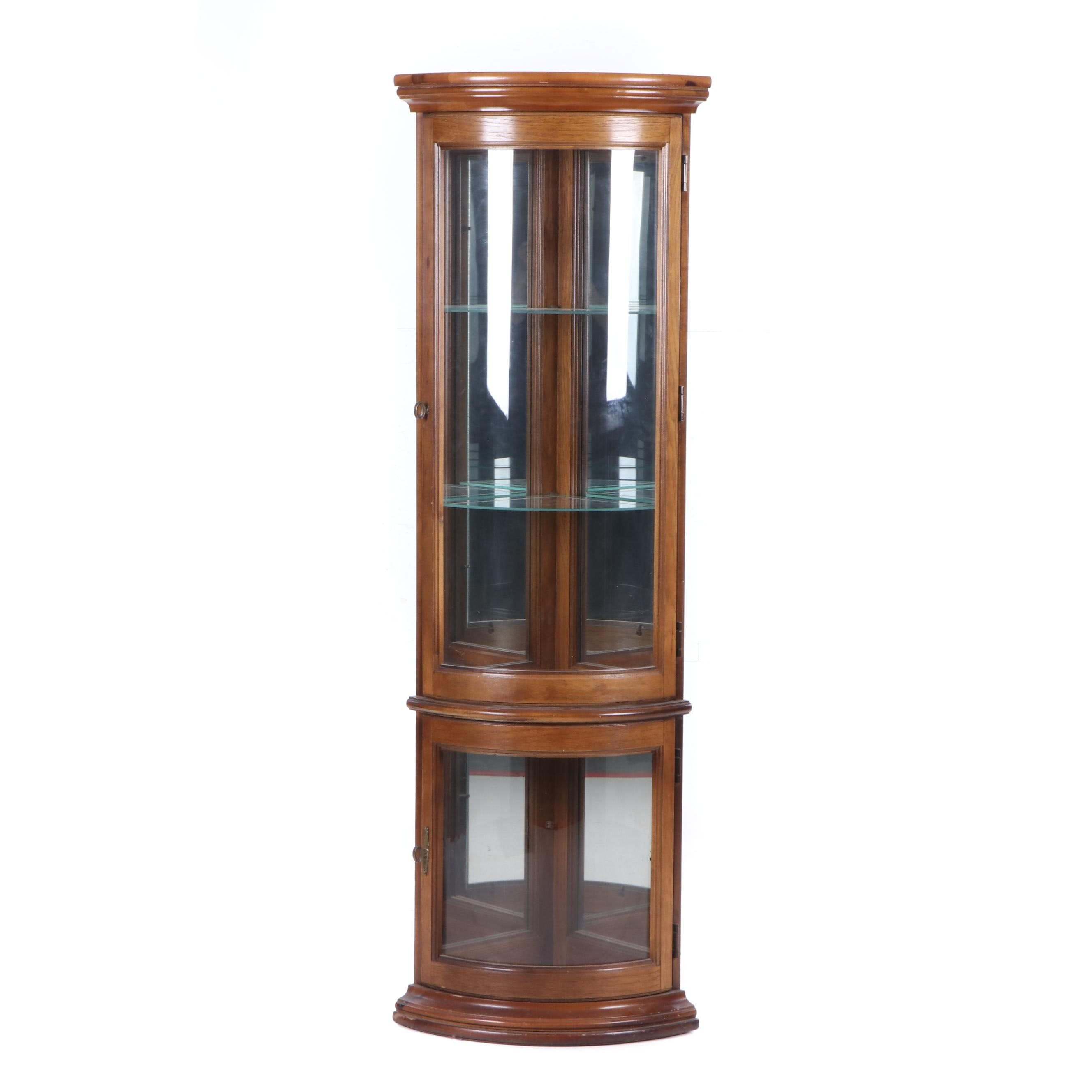 Walnut Finish Wood Illuminated Corner Curio Cabinet, Late 20th Century