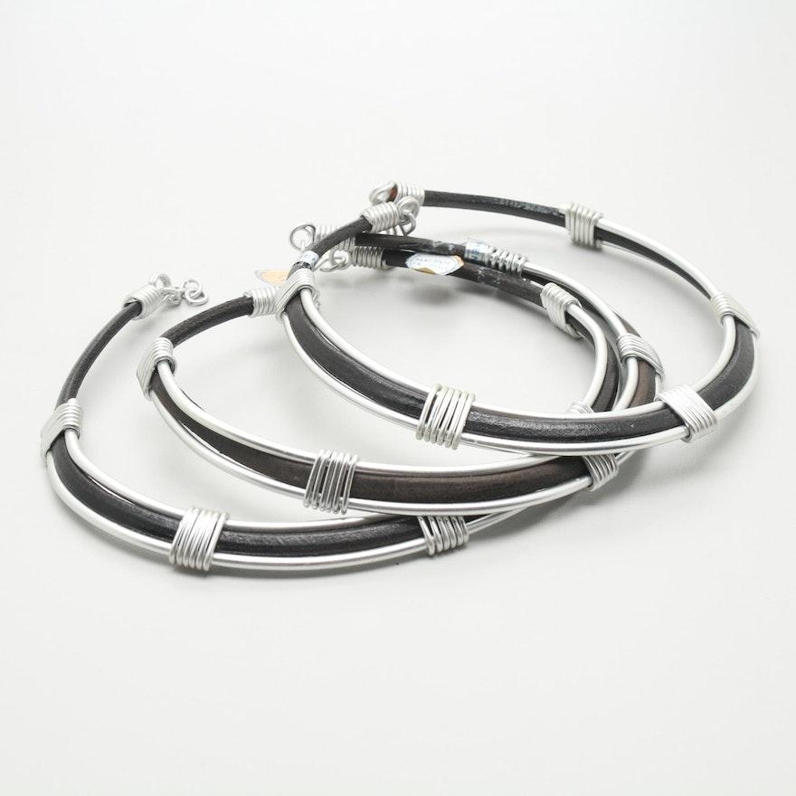 a4e431338cc Silver Tone Leather Necklaces Made in Greece   EBTH