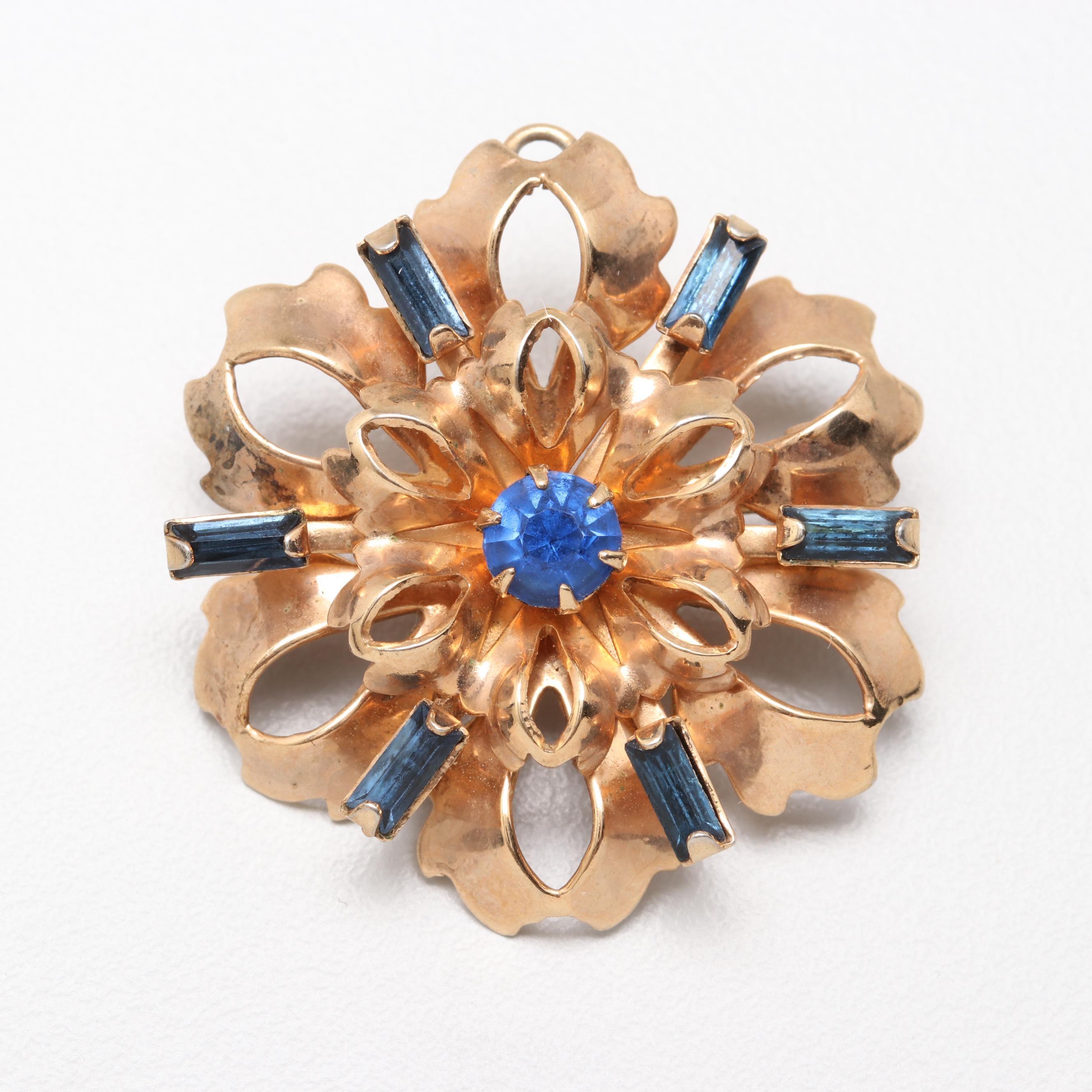 1930s Vermeil Blue Rhinestone Floral Brooch