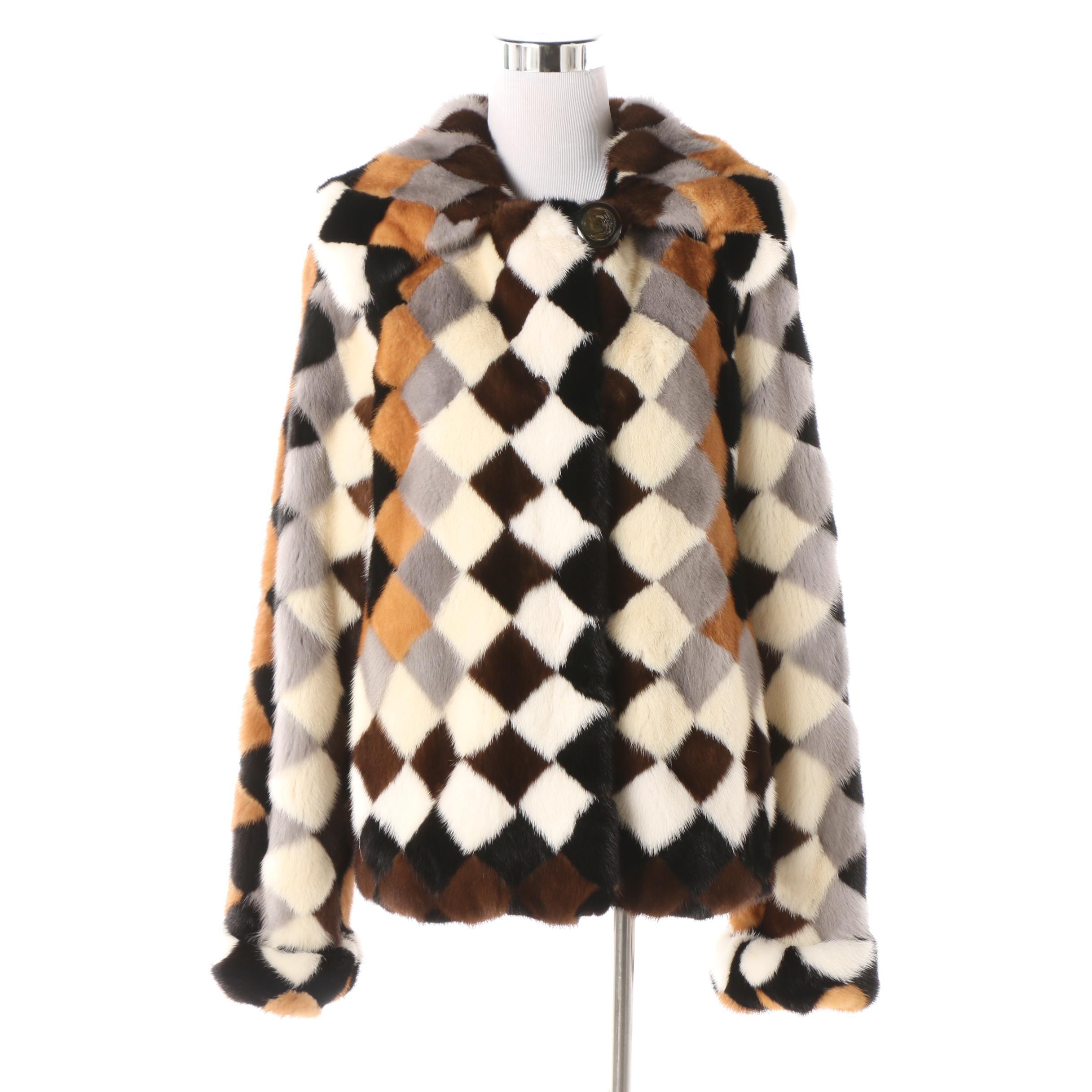 Women's Birger Christensen Dyed Mink Fur Harlequin Pattern Jacket