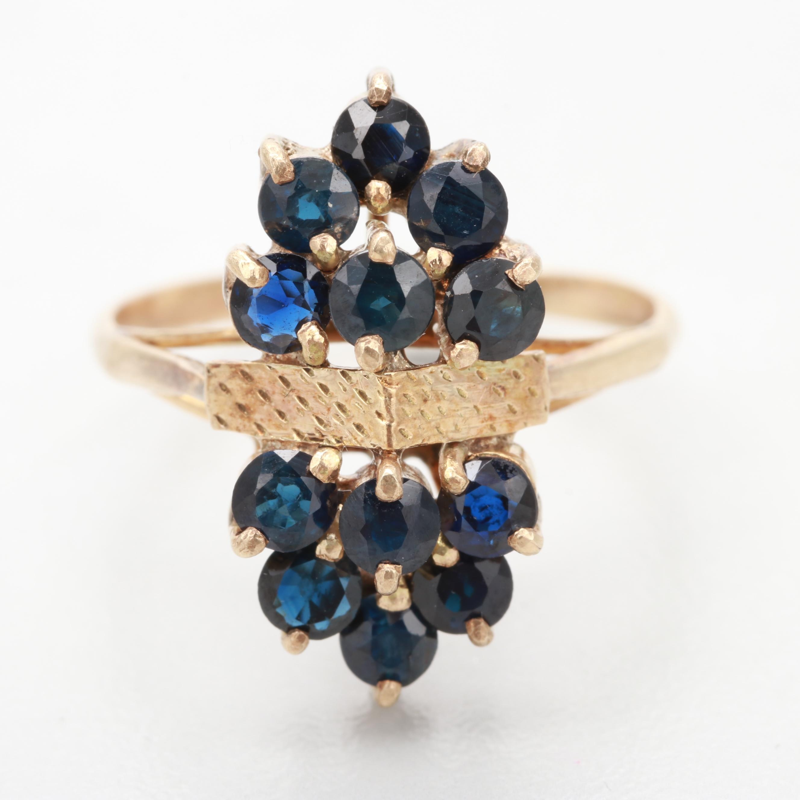 Vintage 10K Yellow Gold Blue Sapphire Ring