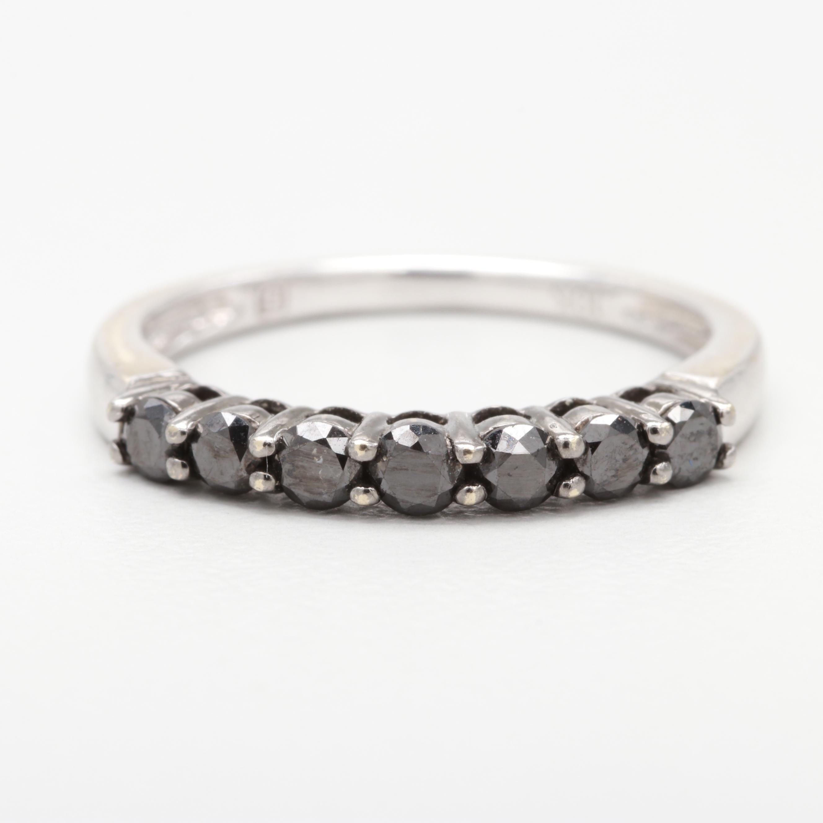10K White Gold Black Diamond Ring