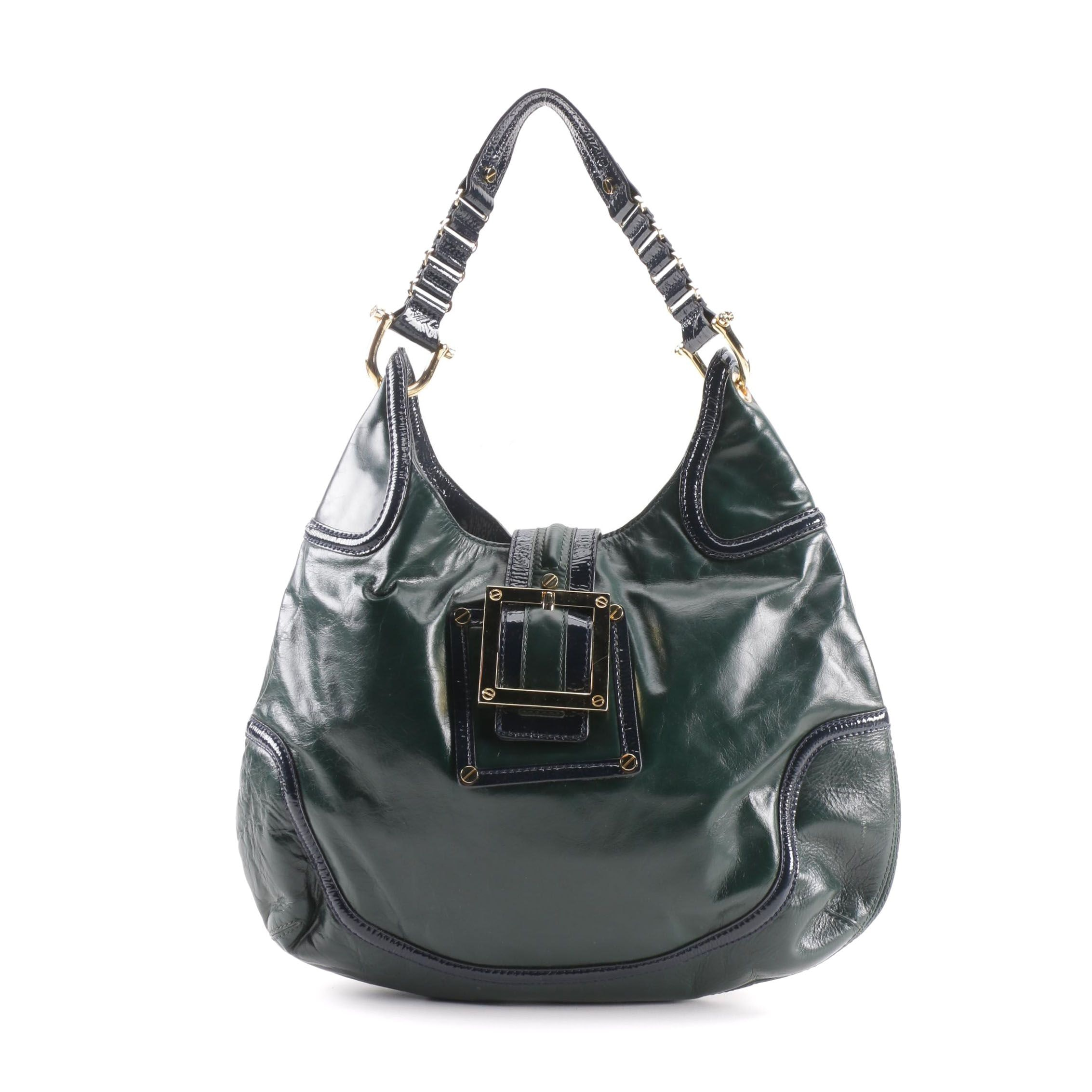 Tory Burch Forest Green and Navy Blue Leather Hobo Bag
