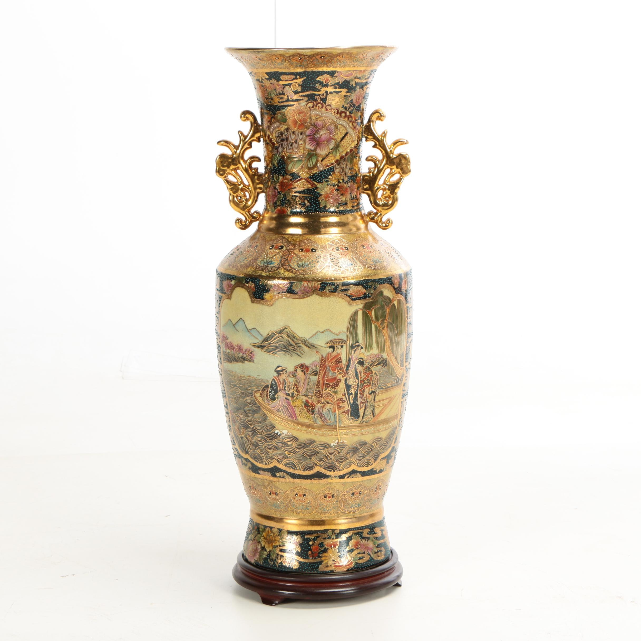 Chinese Satsuma Style Ceramic Floor Vase with Wooden Stand, Late 20th Century