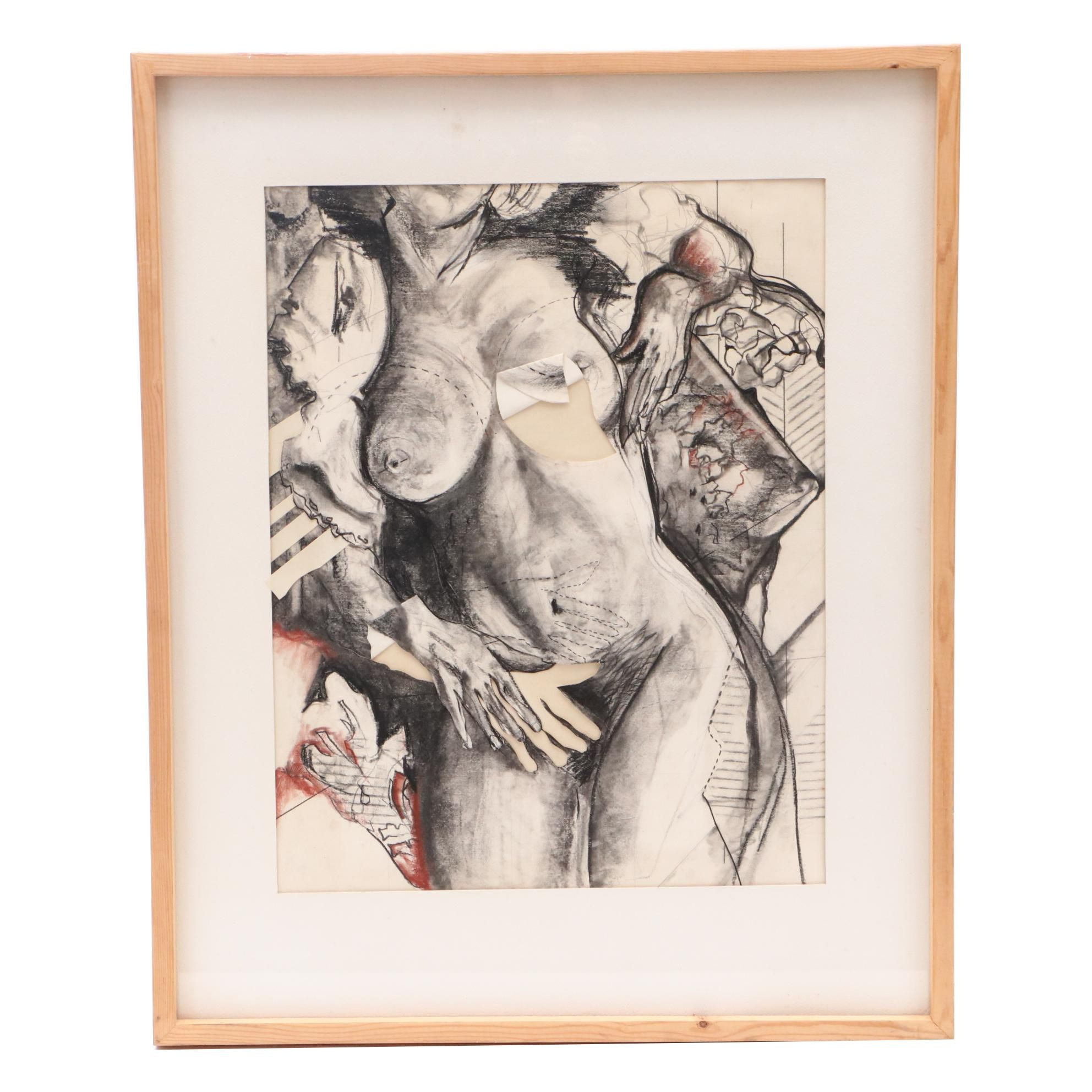 Dan Mader Mixed Media Drawing of Female Nude