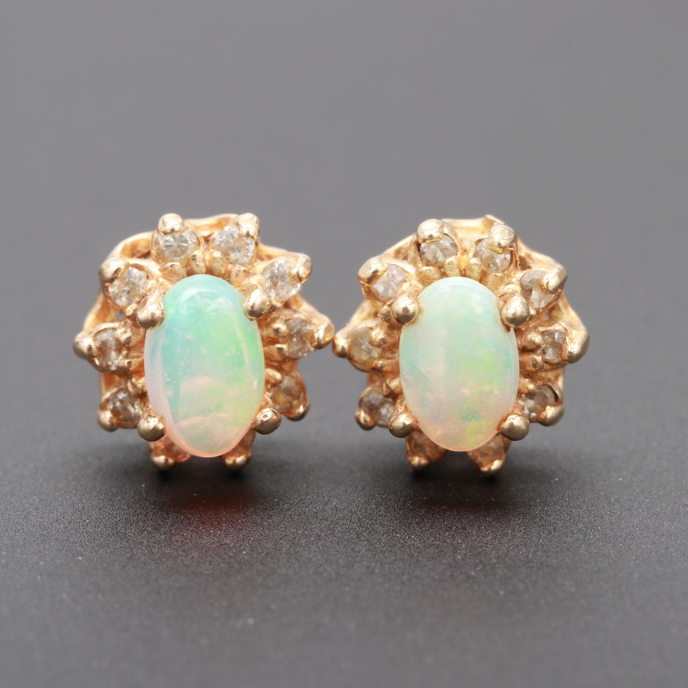 14K Yellow Gold Opal and Diamond Earrings