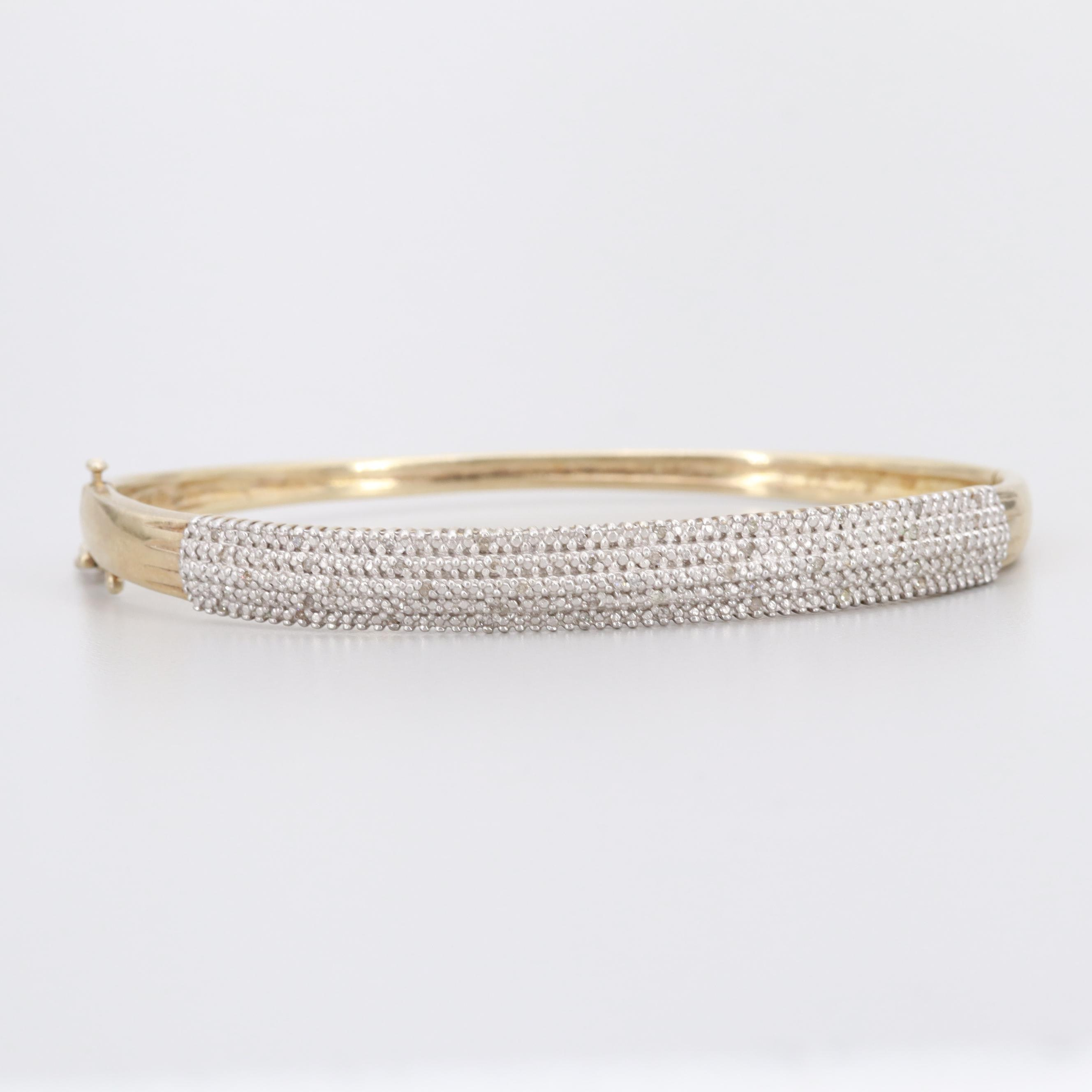 Gold Wash on Sterling Silver Diamond Bracelet