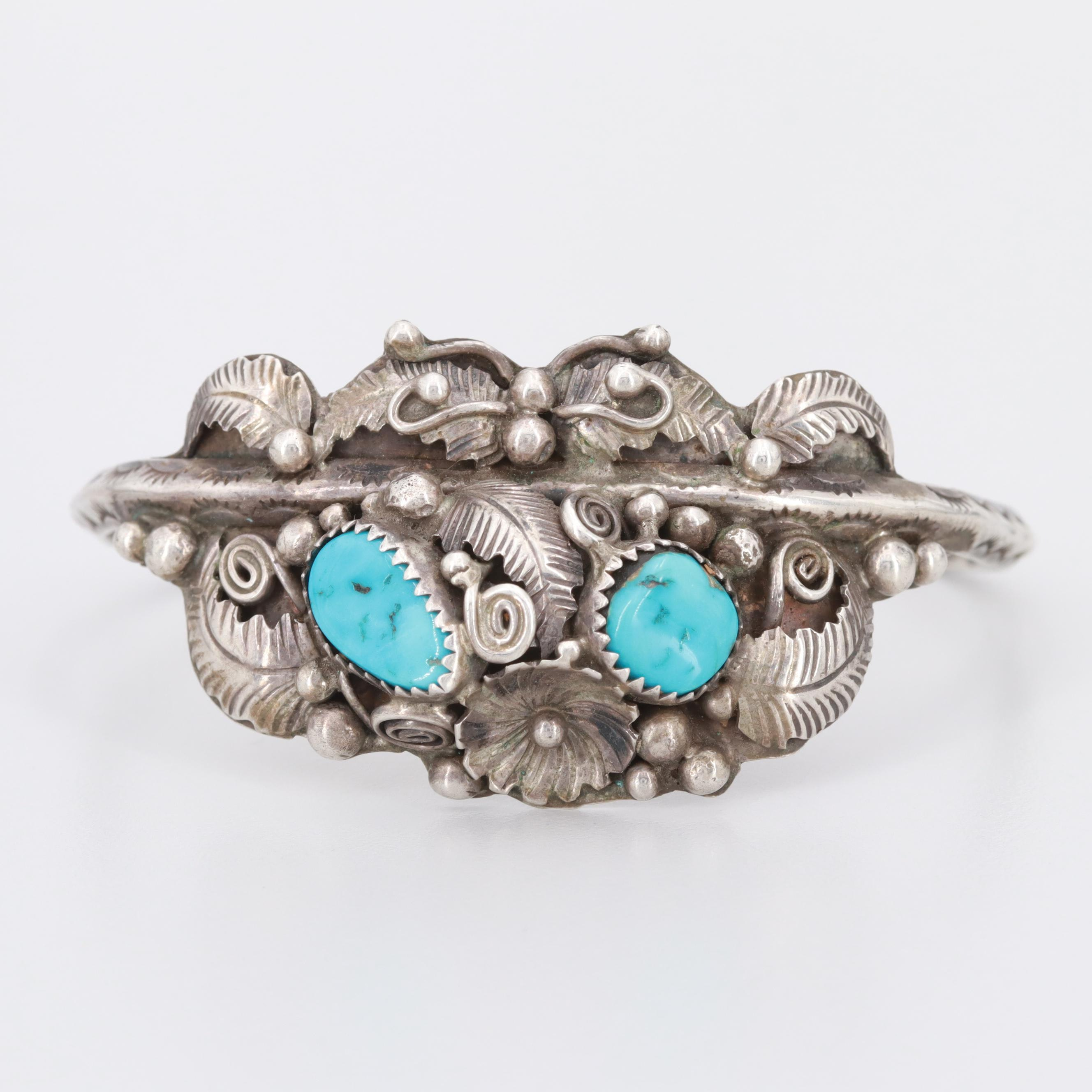 Lucy Calladitto Navajo Diné Sterling Silver Turquoise Cuff Bracelet
