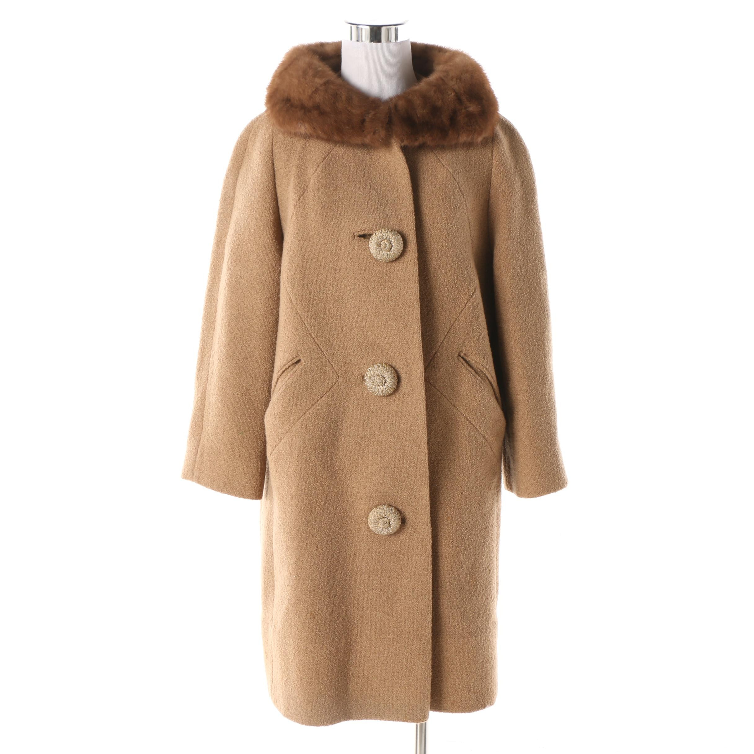 Women's 1960s Vintage Wool Blend Tan Coat with Mink Fur Collar