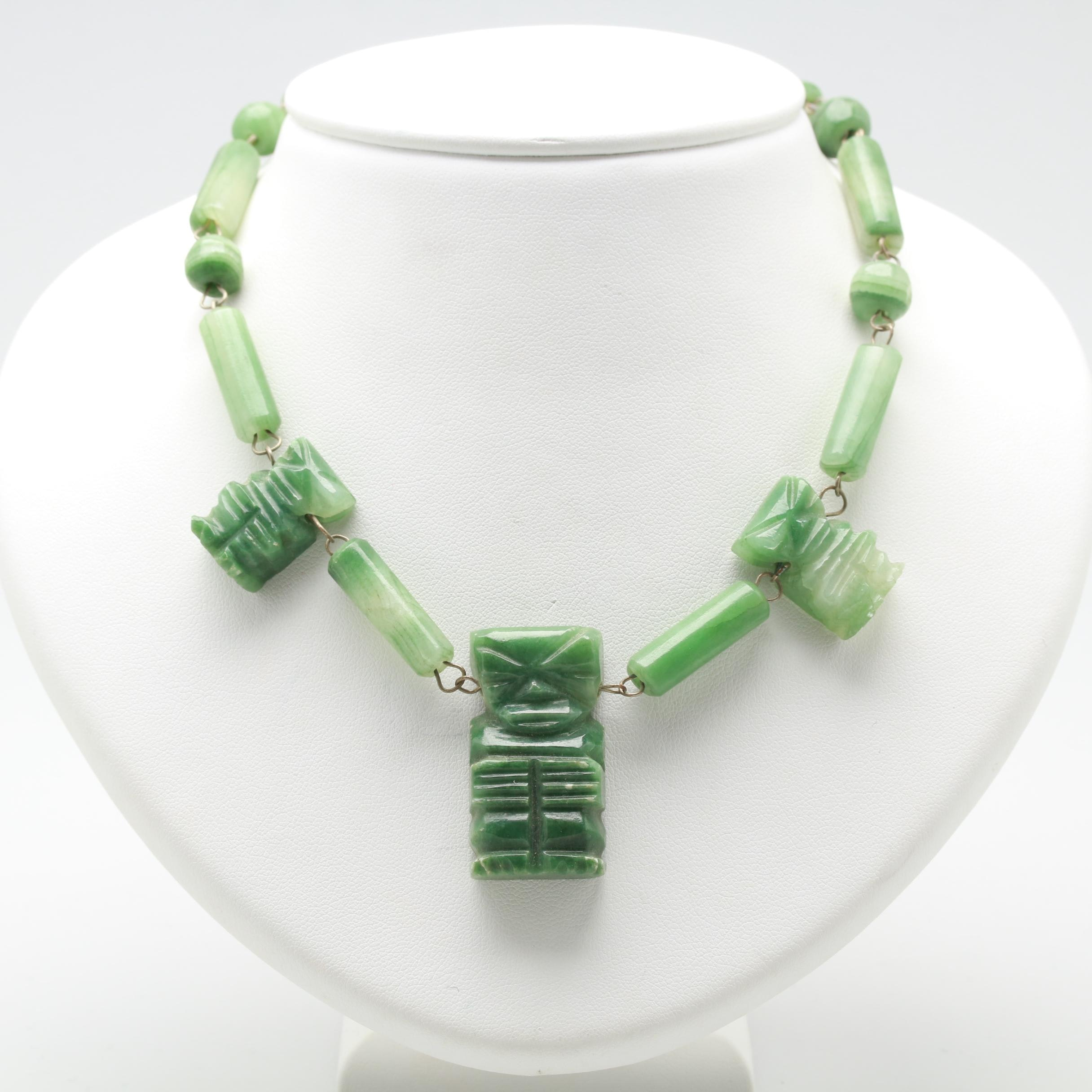 Beaded Calcite Necklace with Carved Figural Pendants