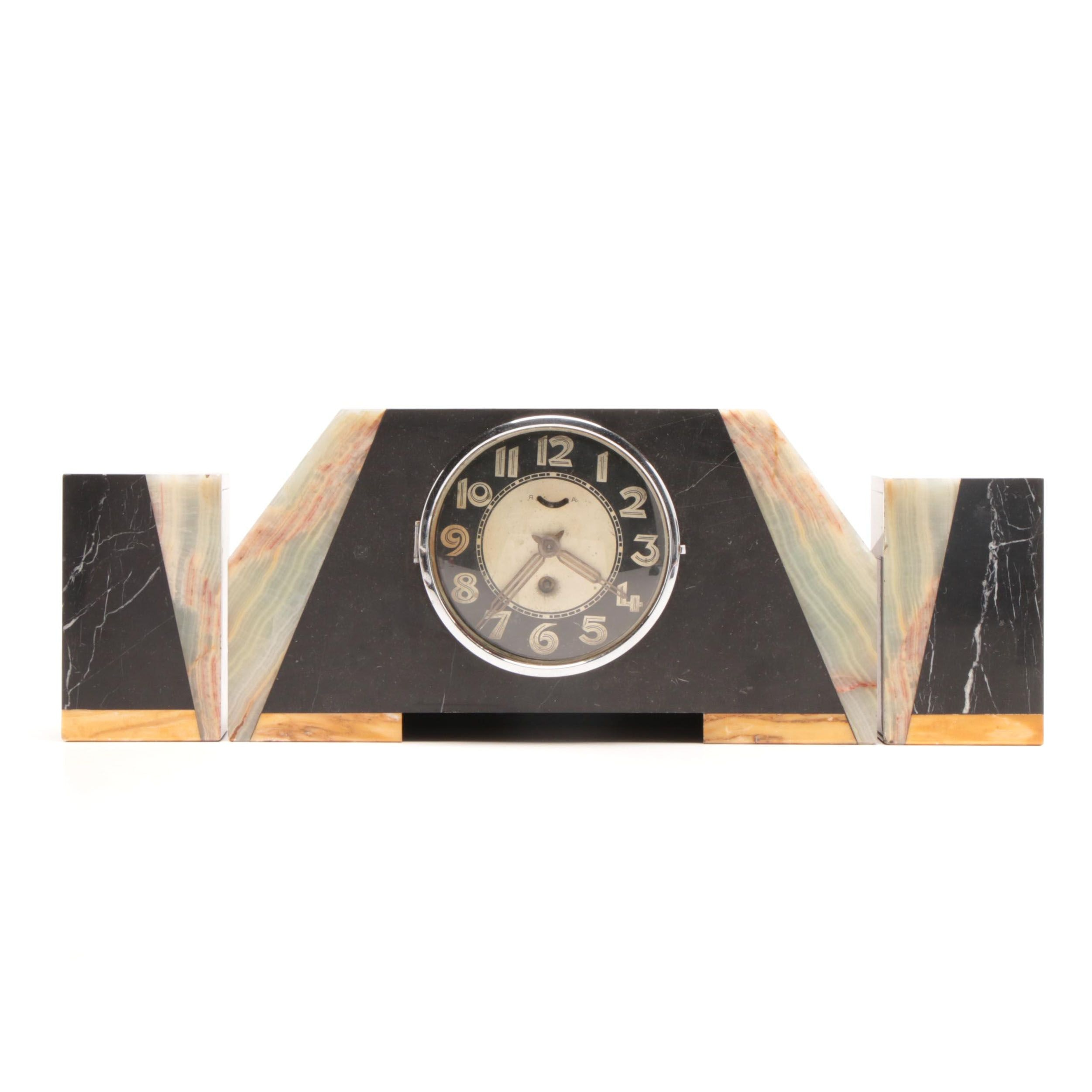 Onyx and Calcite Art Deco Mantel Clock Garniture Set