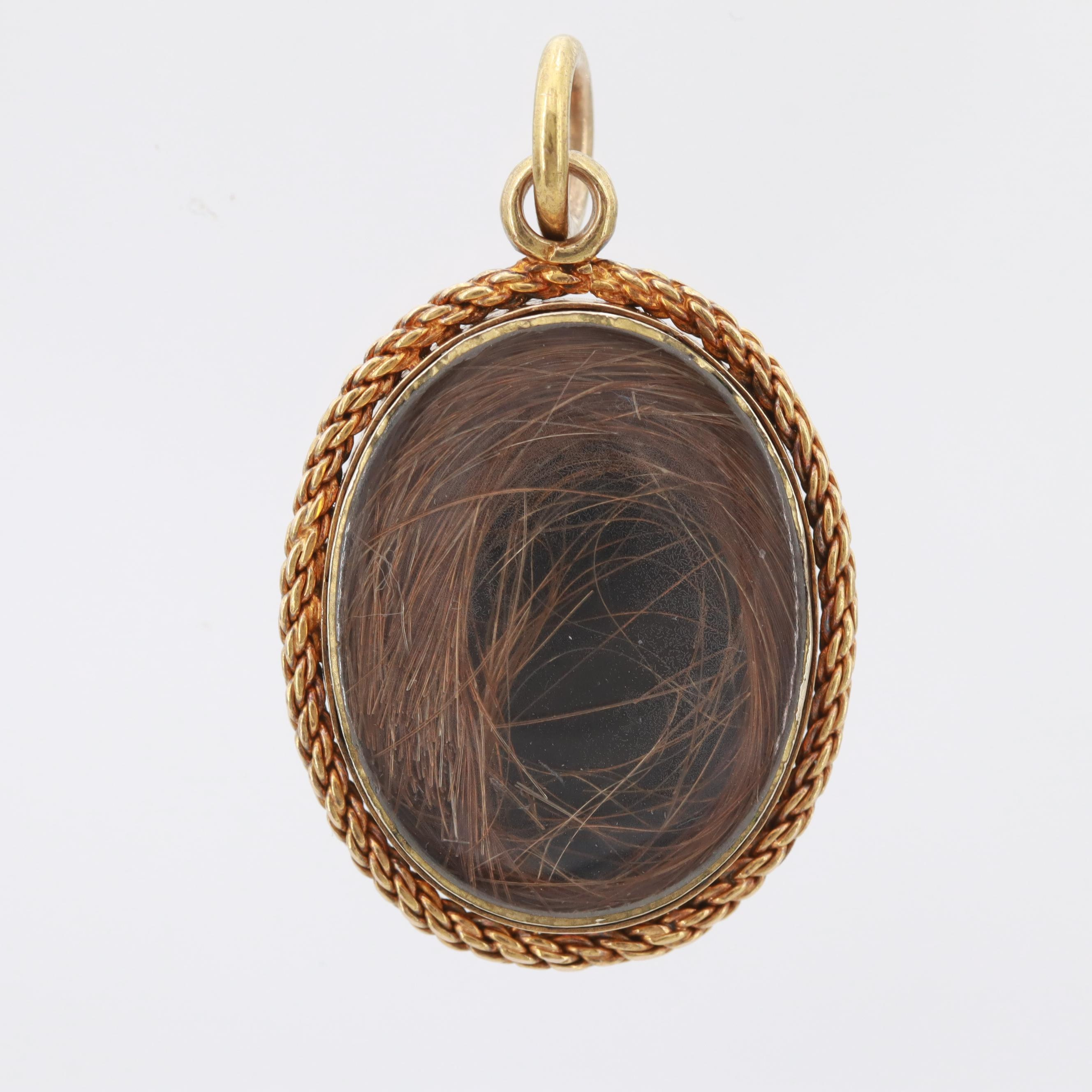 Victorian 14K Yellow Gold Onyx Mourning Pendant