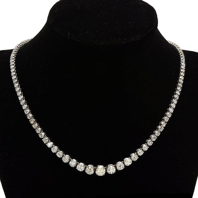 14K White Gold 11.63 CTW Diamond Riviera Necklace