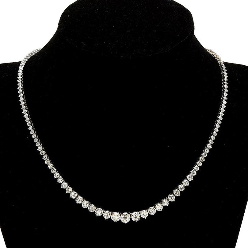 14K White Gold 10.35 CTW Diamond Riviera Necklace
