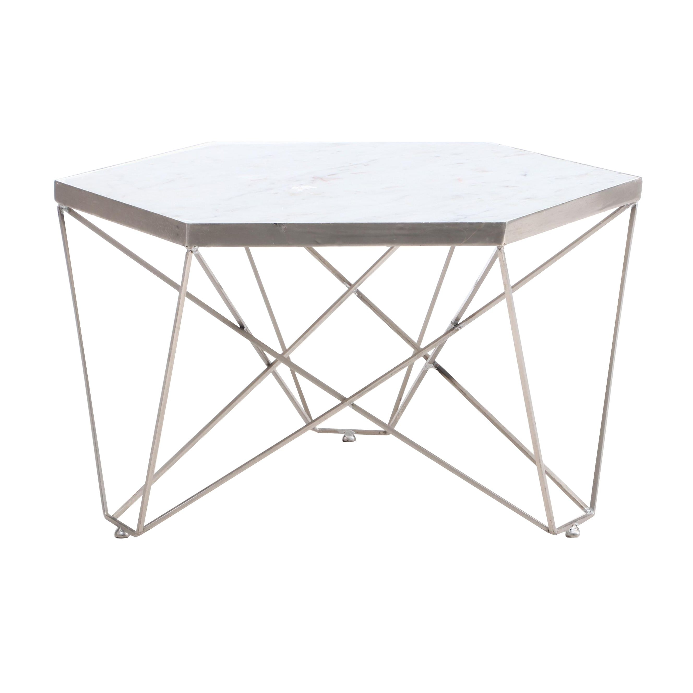 Hexagonal Marble Top Coffee Table
