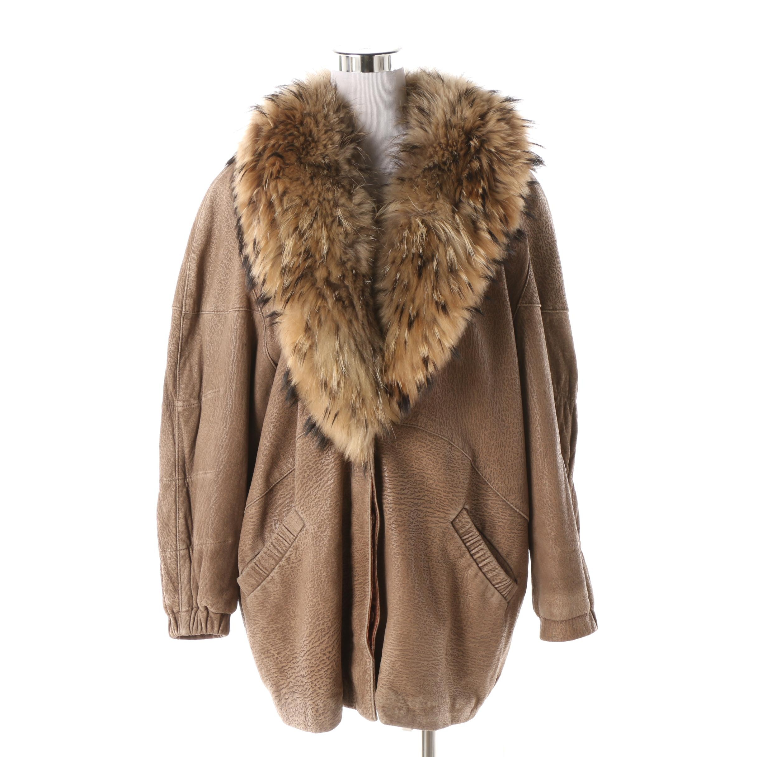 1980s J. Percy for Marvin Richards Taupe Leather Jacket with Raccoon Fur Collar