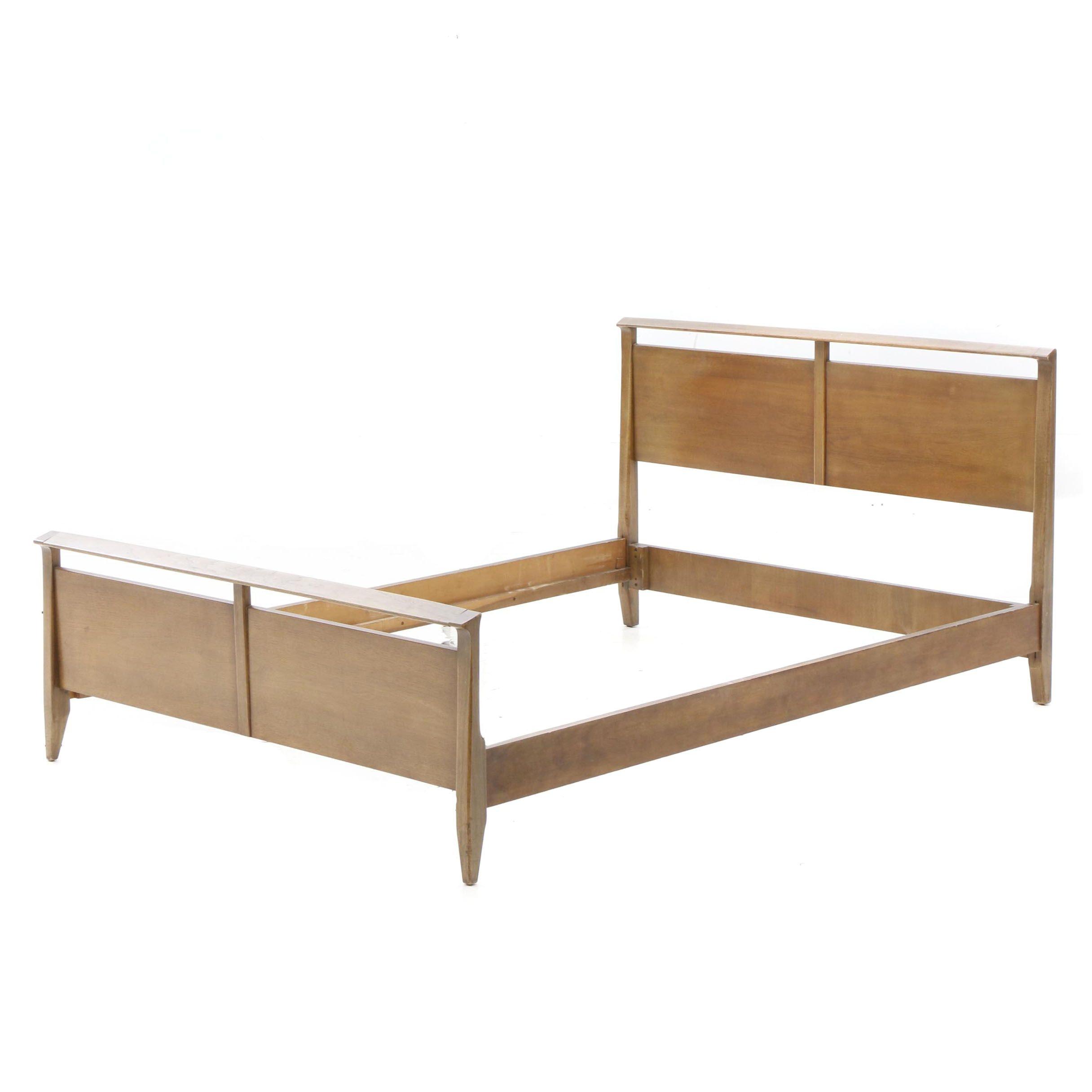 Danish Modern Style Full Size Bed Frame in Teak