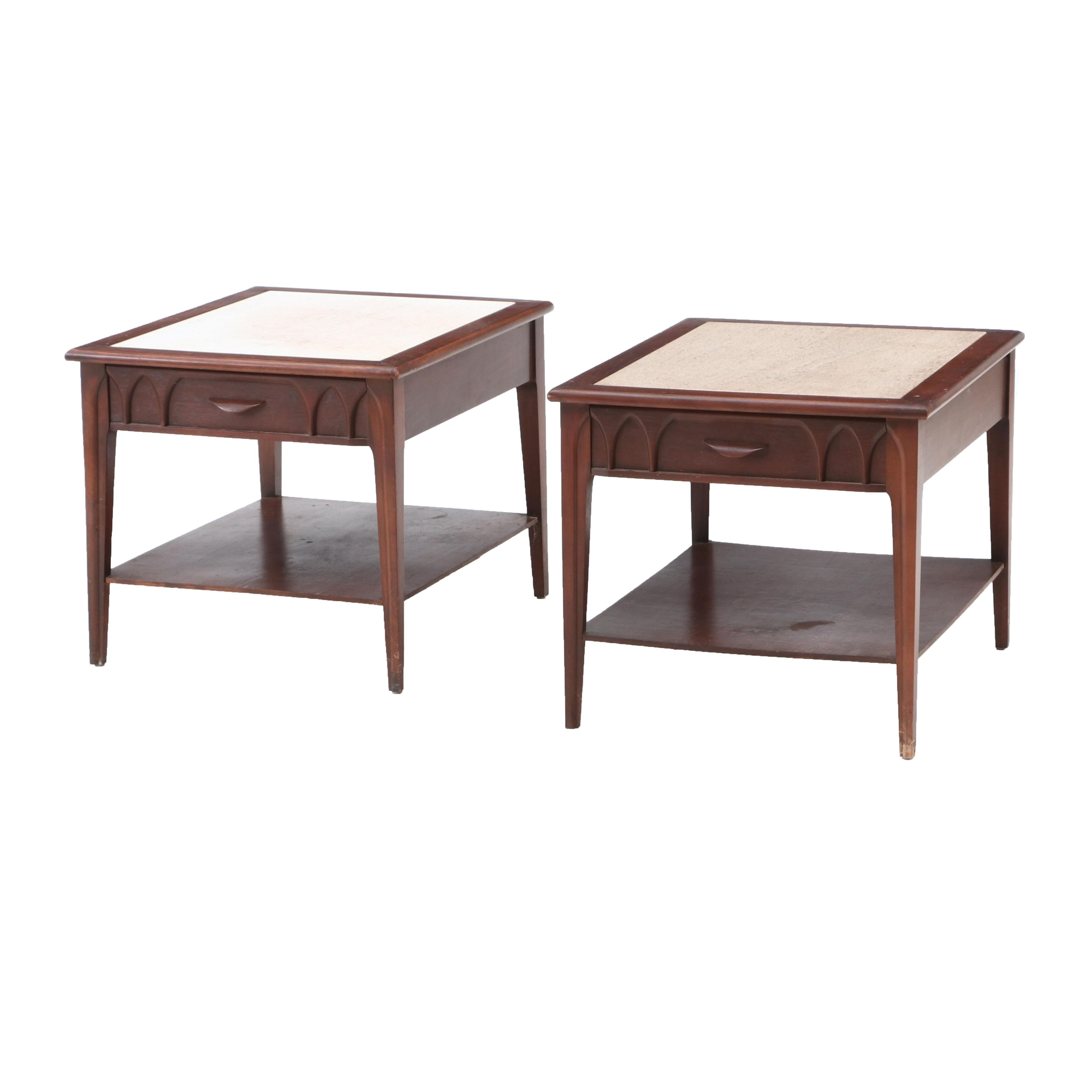 Pair of Stone Top Mid Century Modern End Tables