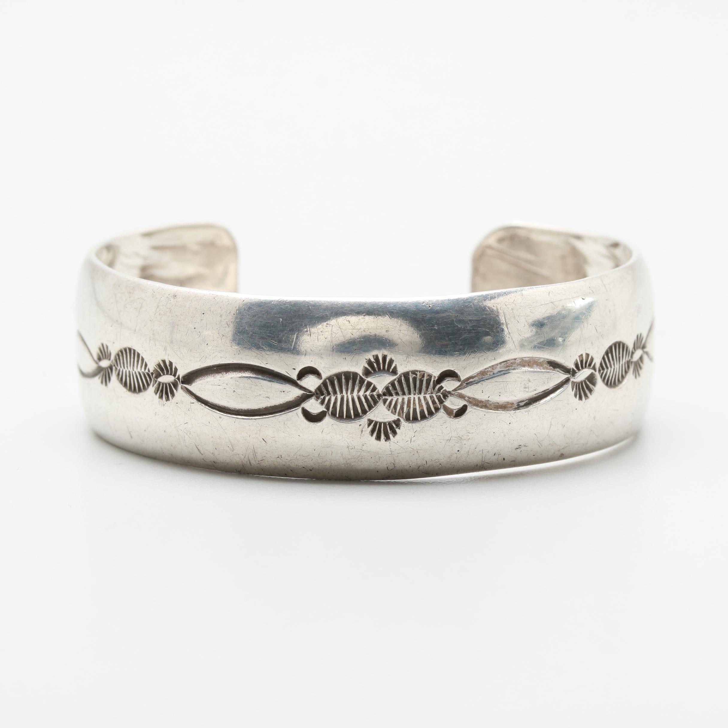 Fred Brown Navajo Sterling Silver Cuff Bracelet