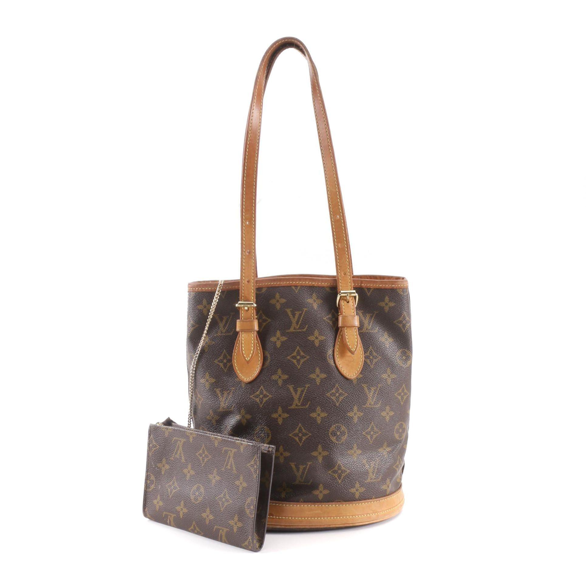 2001 Louis Vuitton Paris Monogram Canvas Marais PM Petite Bucket Bag with Pouch