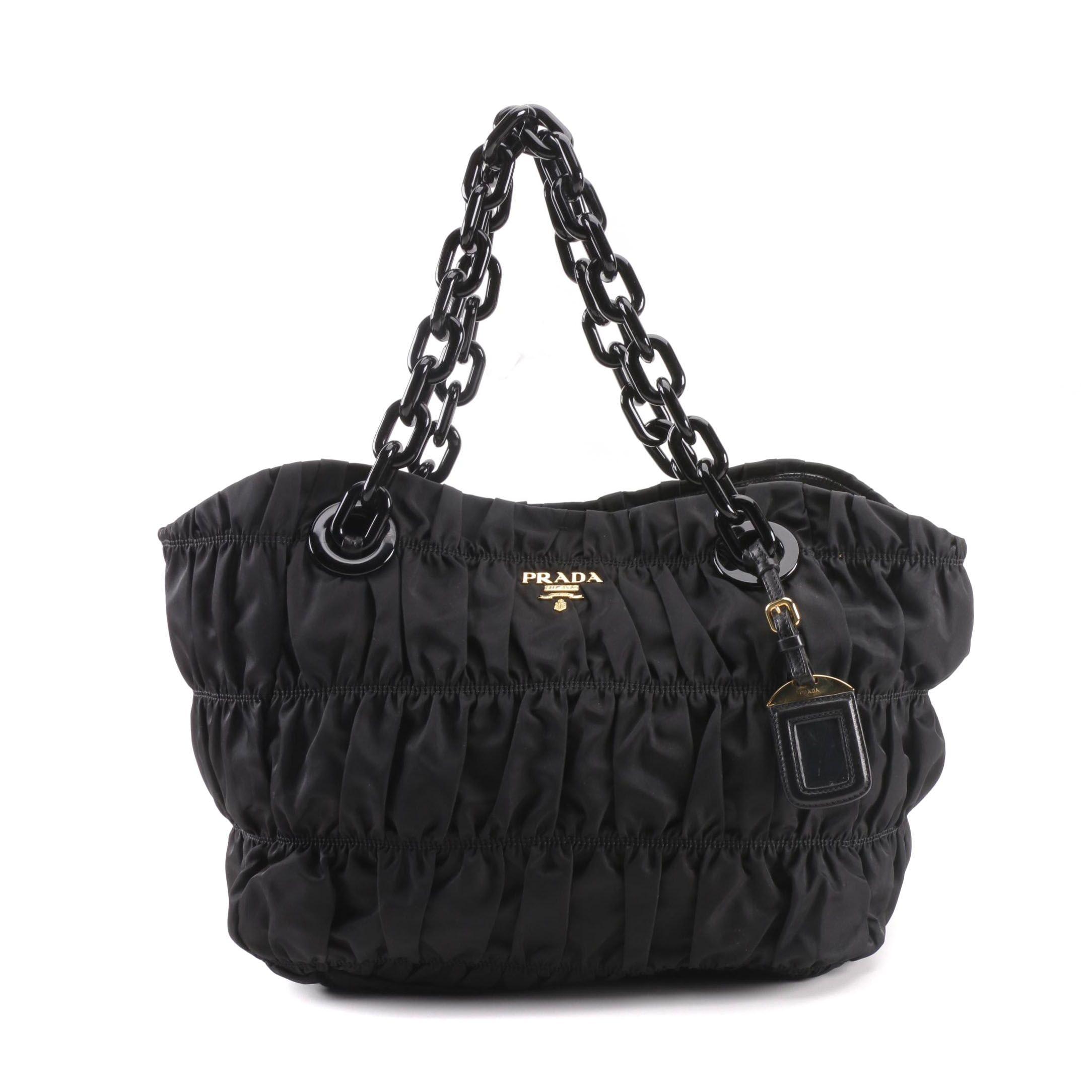 Prada Black Ruched Nylon Handbag