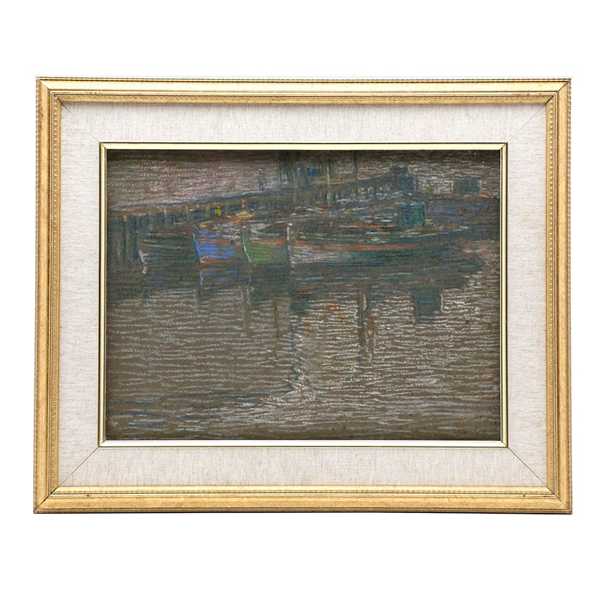 Charles Kaelin Pastel Drawing of Harbor Scene