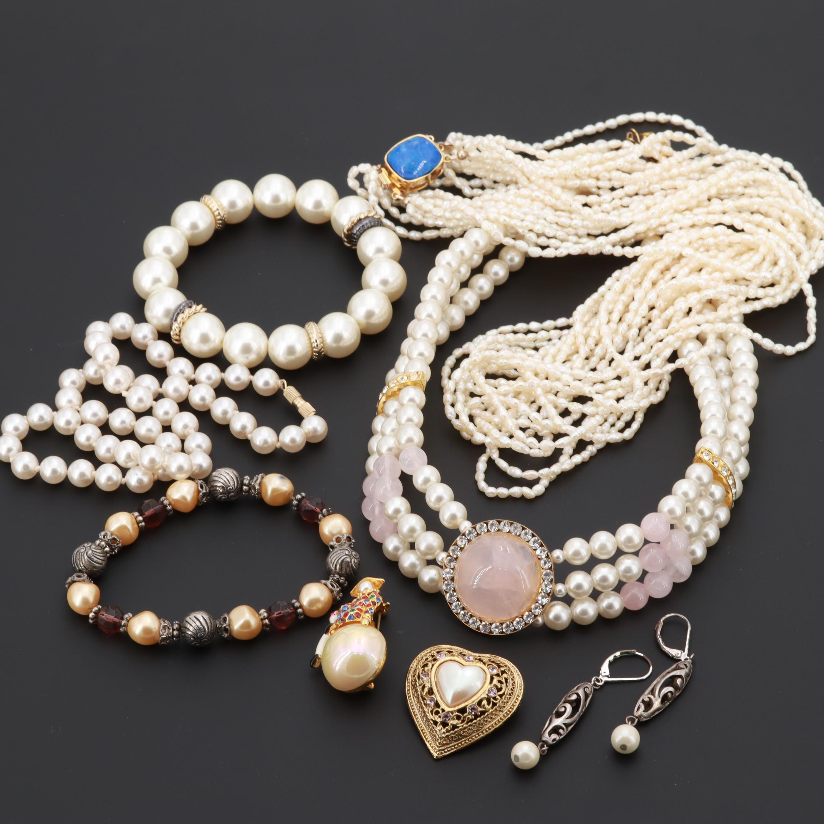 Rose Quartz, Cultured and Imitation Pearl Assorted Jewelry