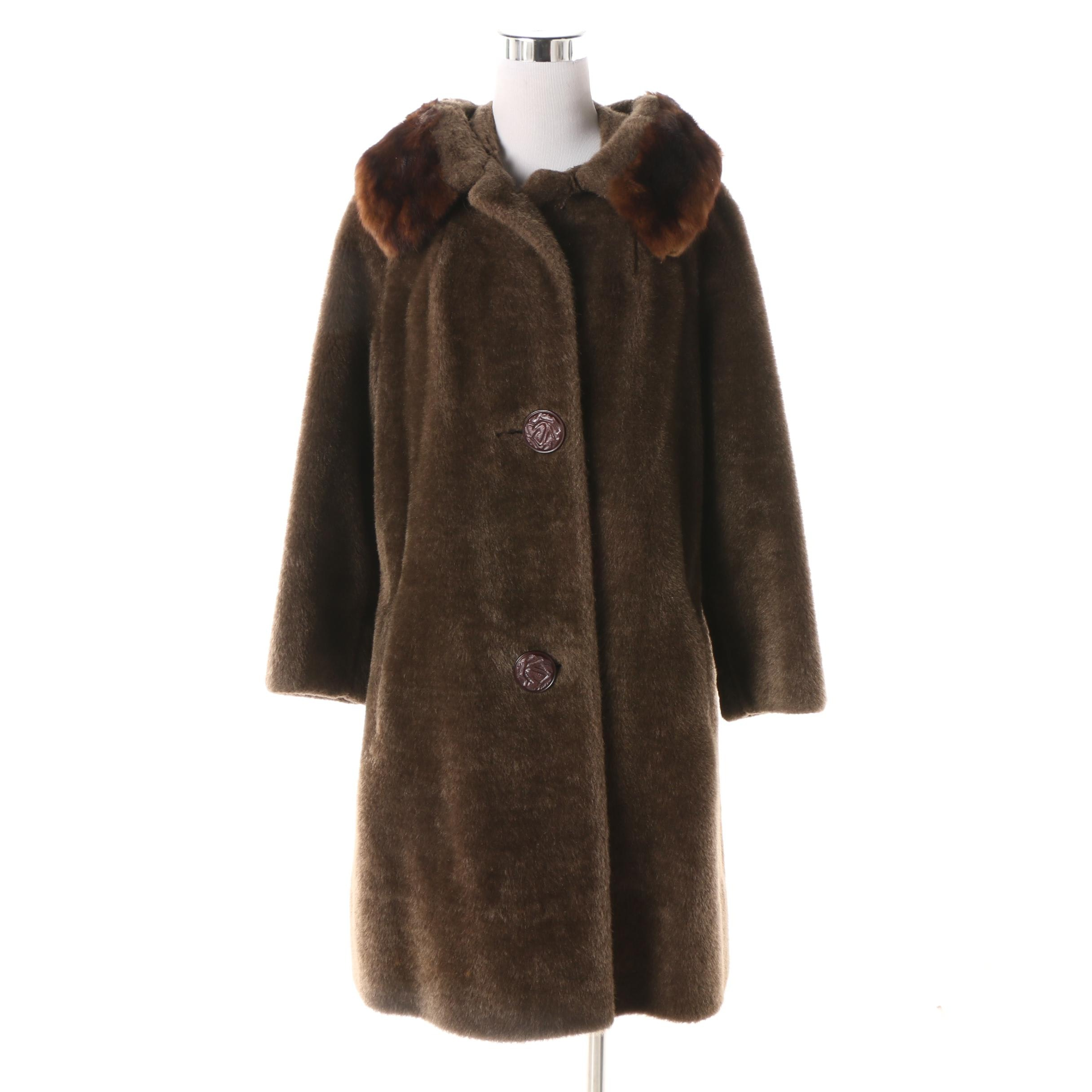 1960s Vintage Gracie Park Faux Fur Coat with Dyed Marten Fur Collar