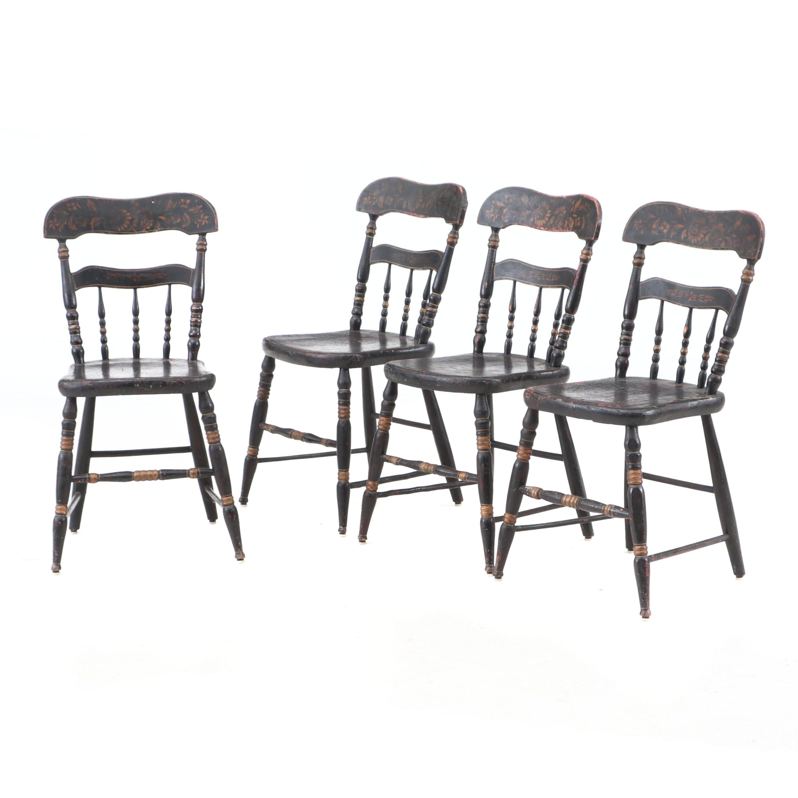 Four Stenciled American Chairs, Circa 1830