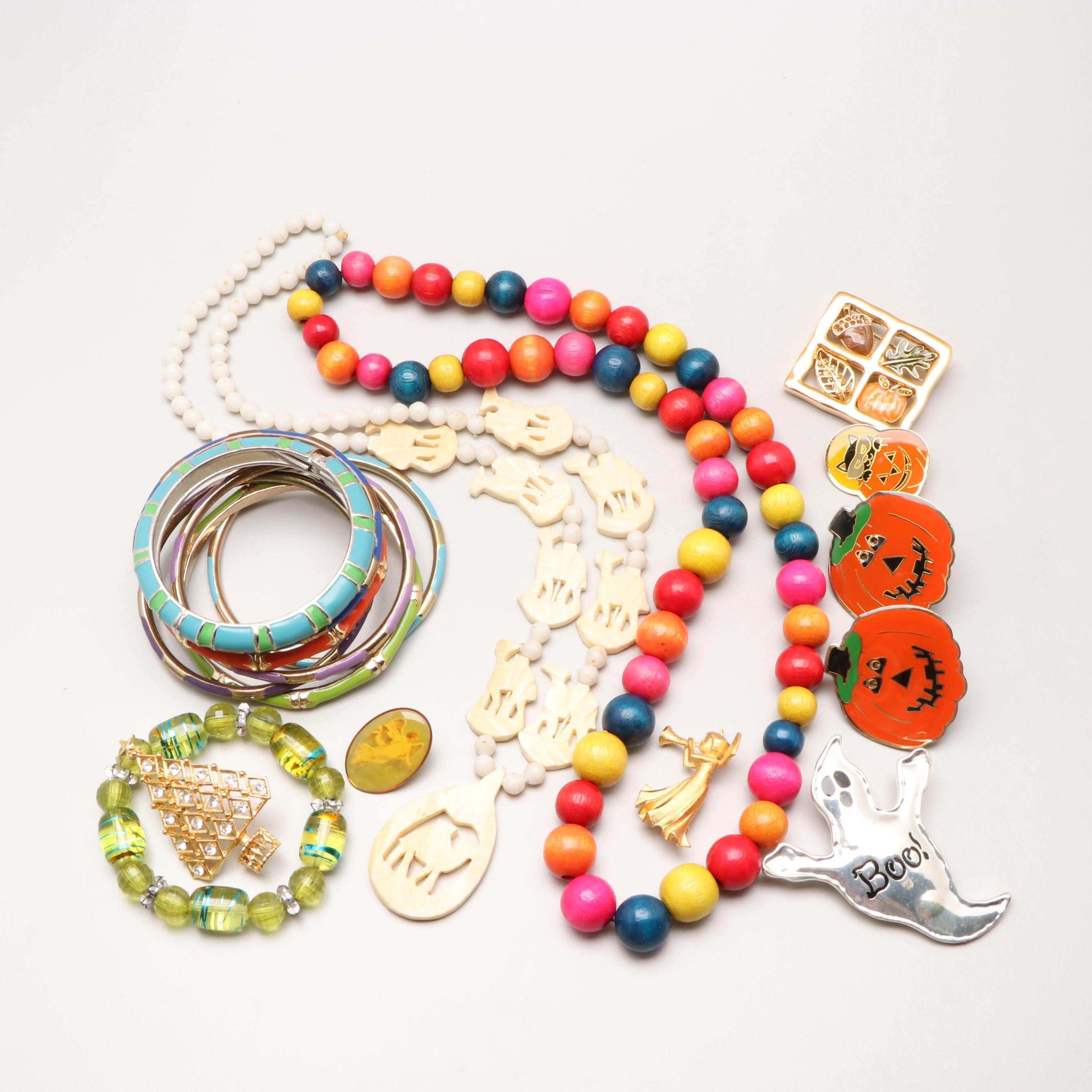 Enamel, Bone and Wood Bracelets, Necklaces and Pins