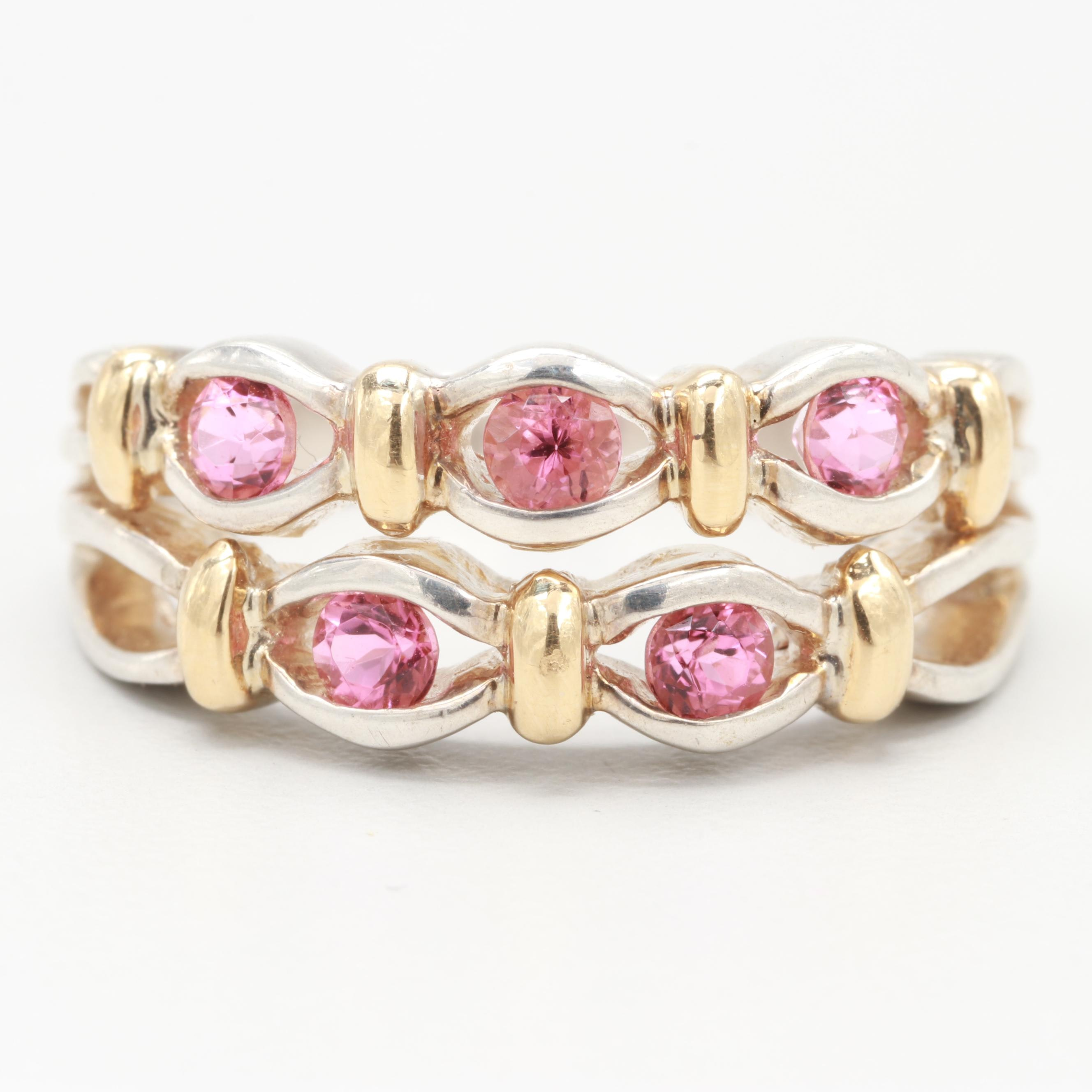 Lorenzo Sterling Synthetic Pink Sapphire Ring with 18K Yellow Gold Accents