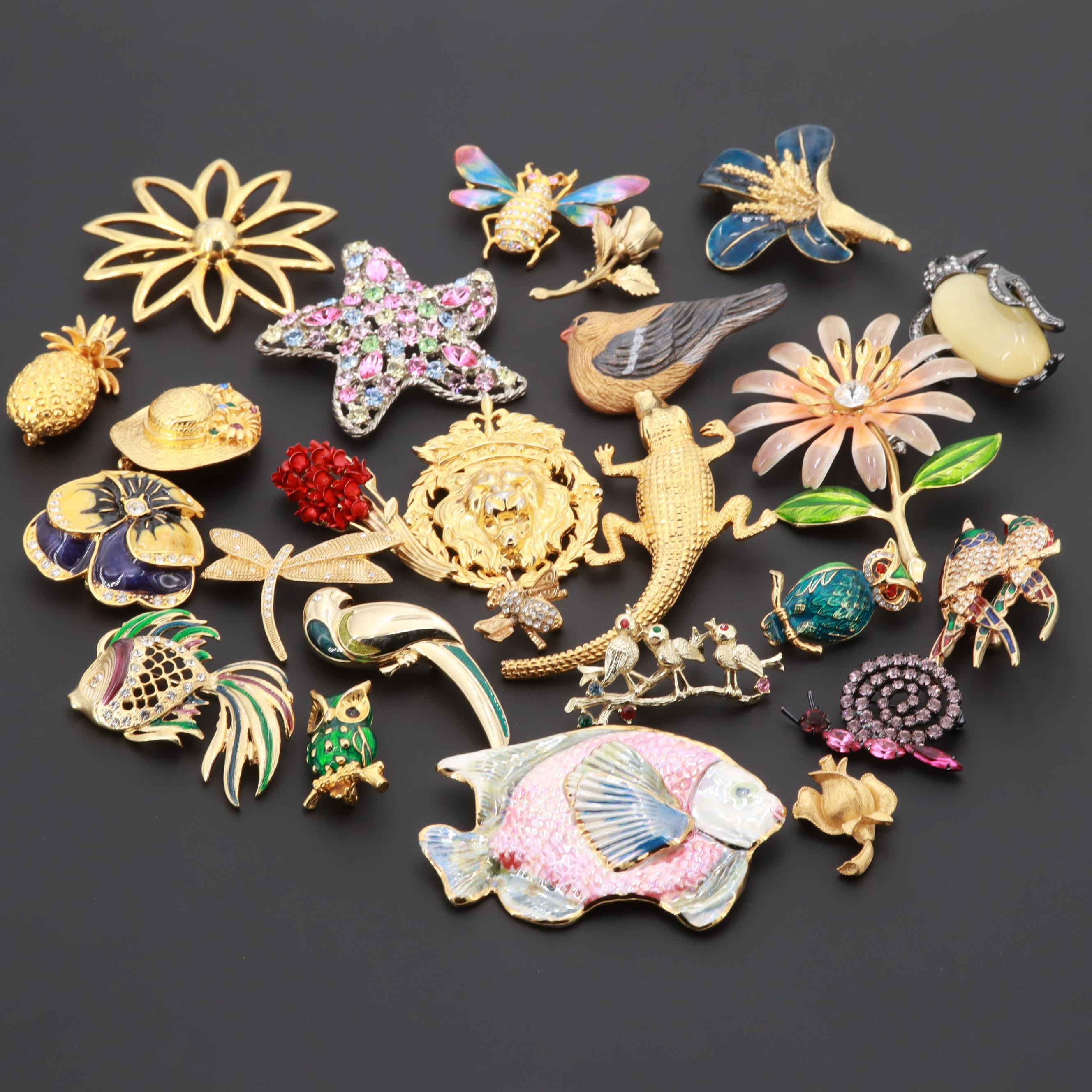 Enamel and Glass Brooches