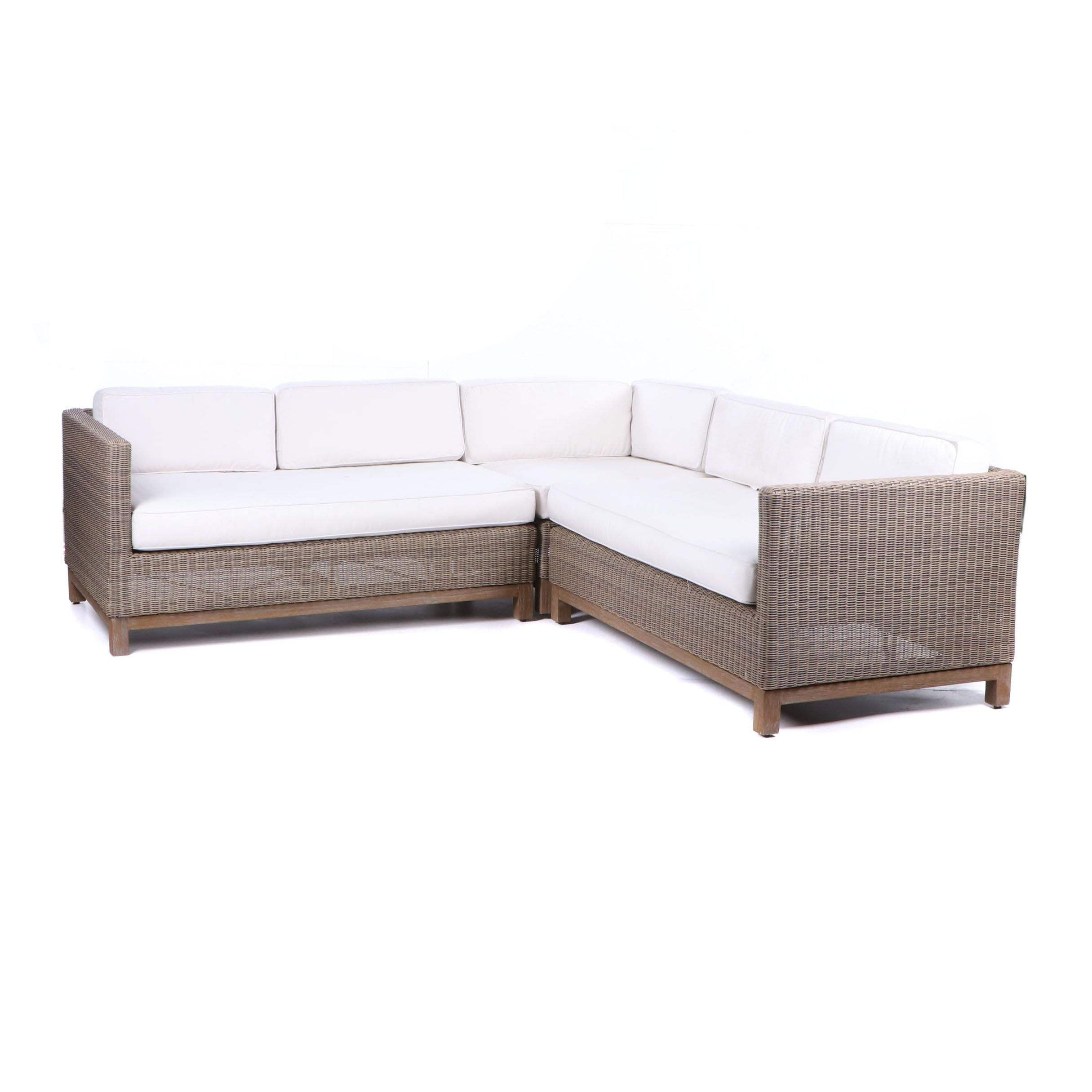 """Malibu"" Outdoor Wicker and Teak Sectional Sofa by Restoration Hardware, 21st C."