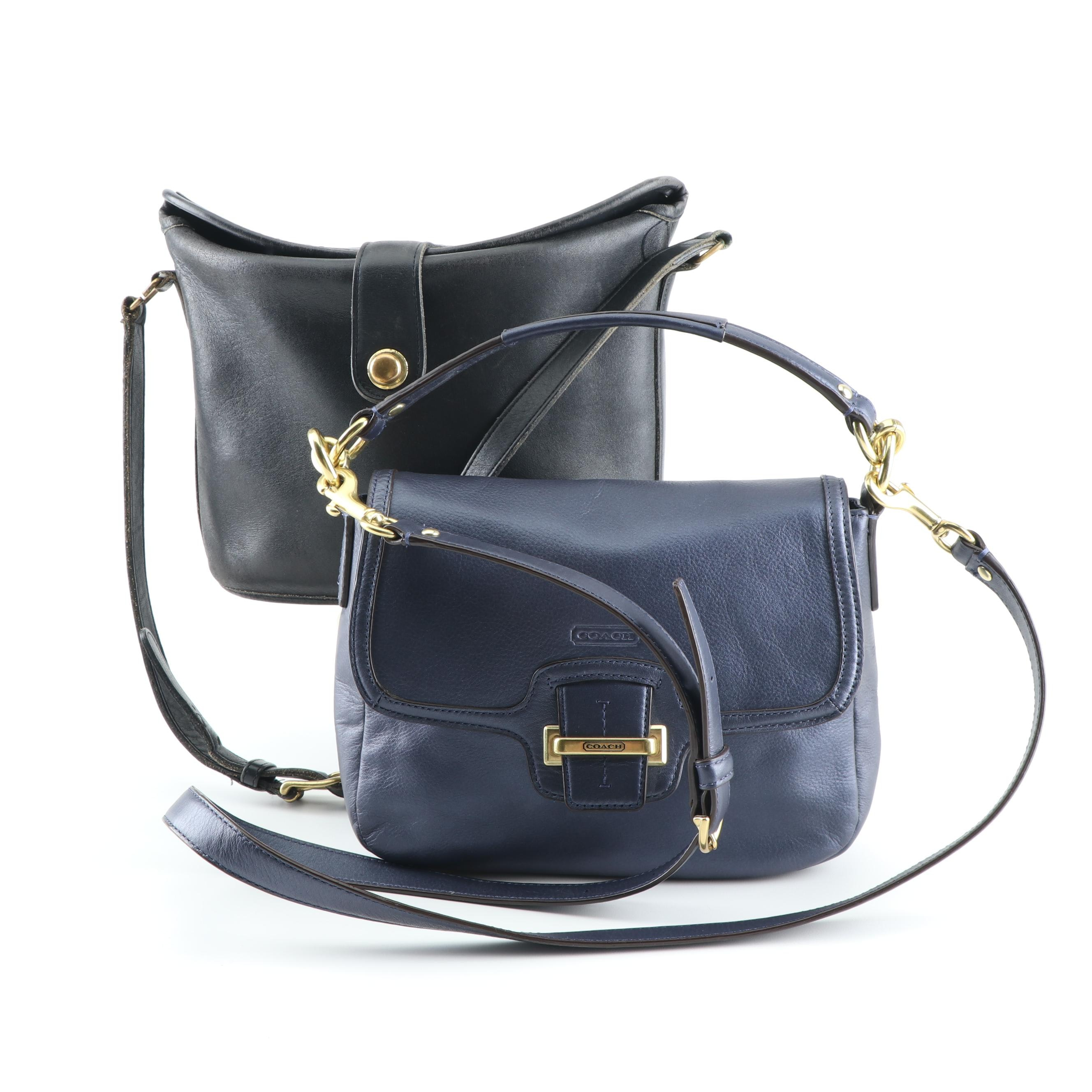 Vintage and Contemporary Coach Black and Blue Leather Handbags