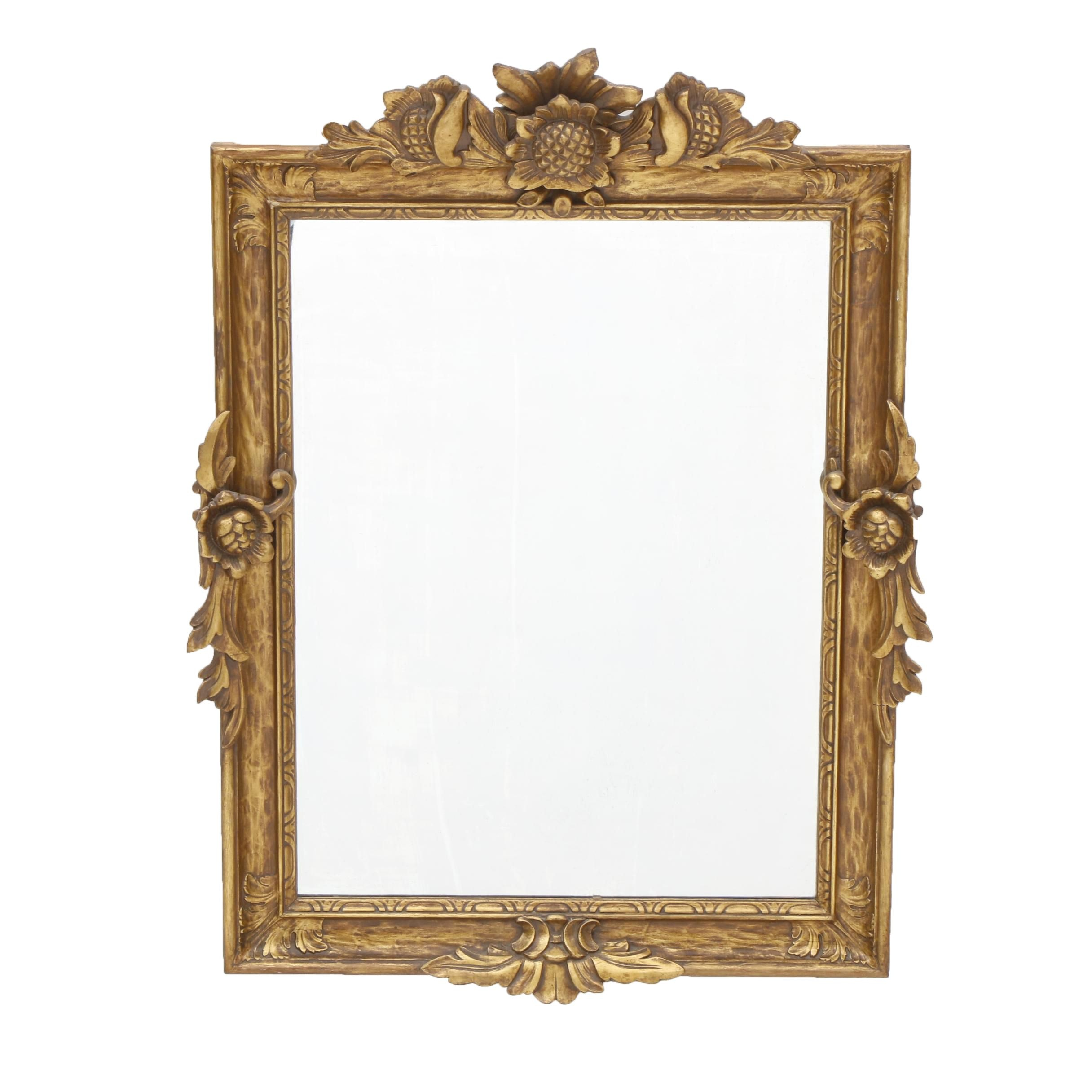 Mid 20th Century Giltwood Mirror with Sunflower Decoration