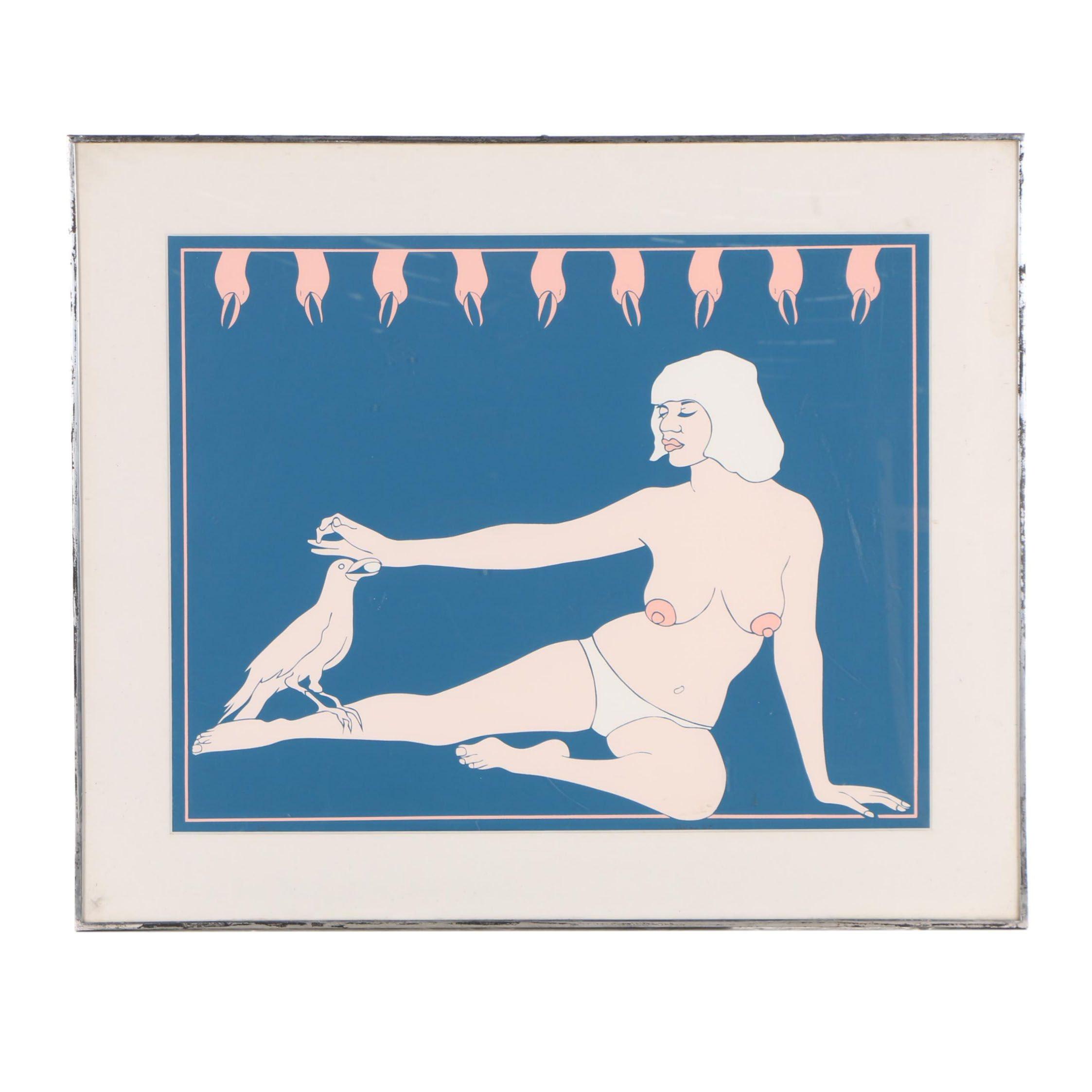 "John Wesley Serigraph ""Bird Lady"""