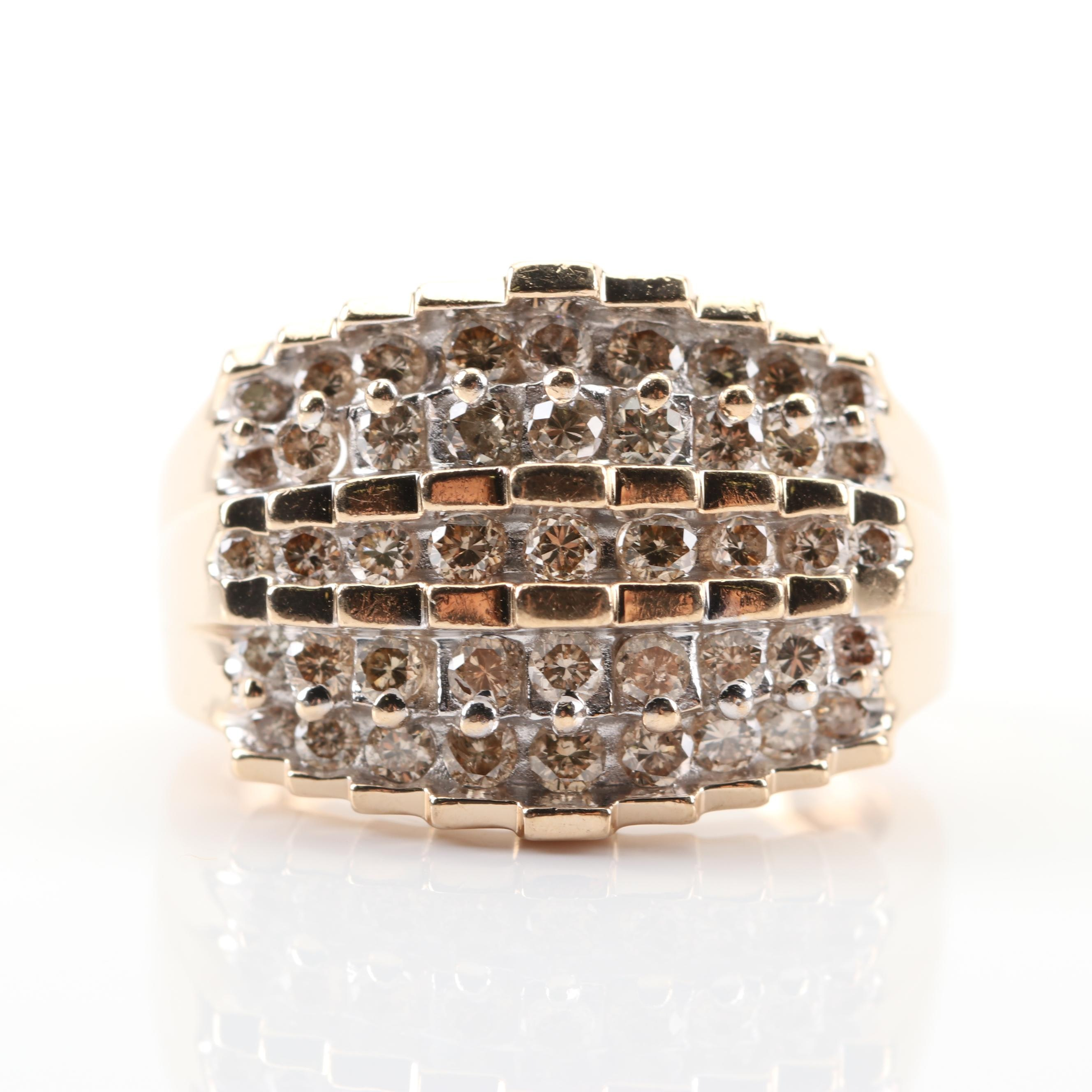 14K Yellow Gold Five-Row Diamond Ring